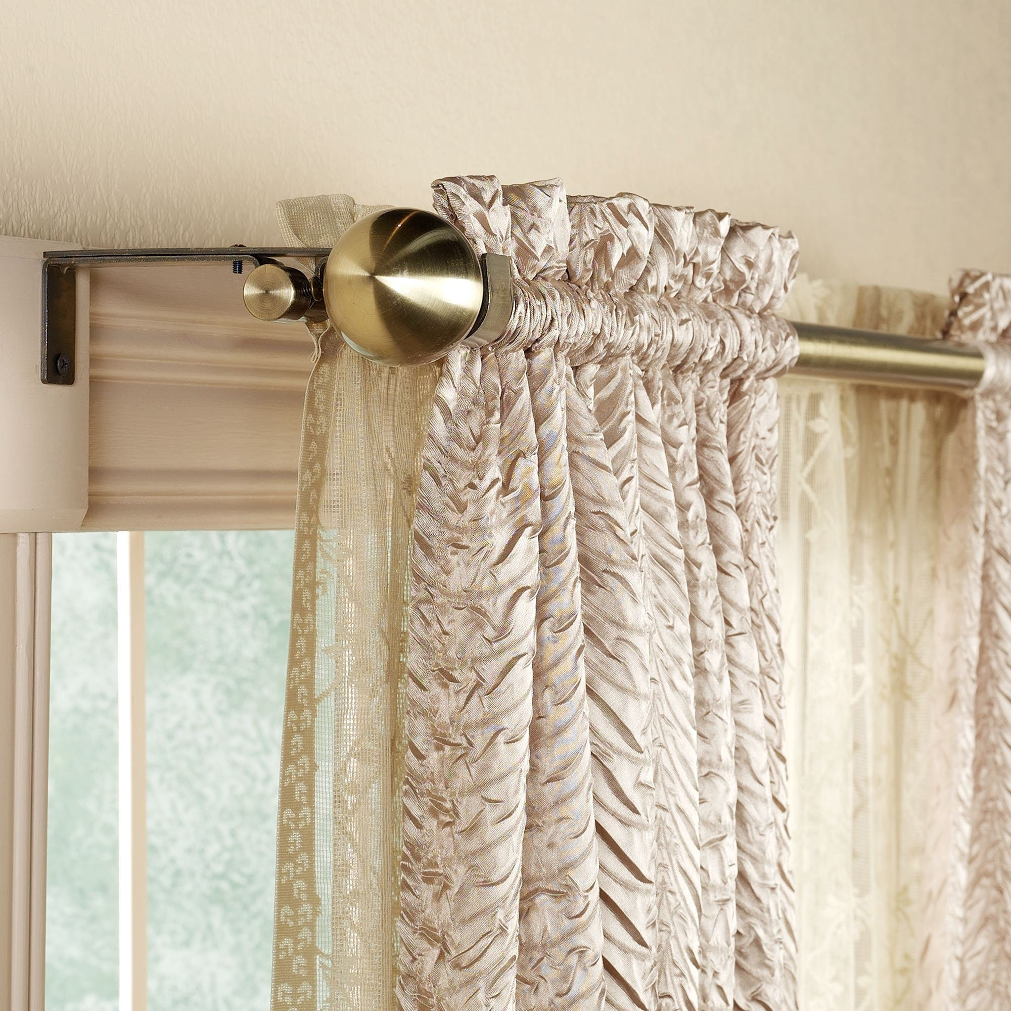 Bathroom Exciting Swing Arm Curtain Rods In Deluxe Brass Gold For Regarding Purple And Gold Curtains (Image 1 of 25)