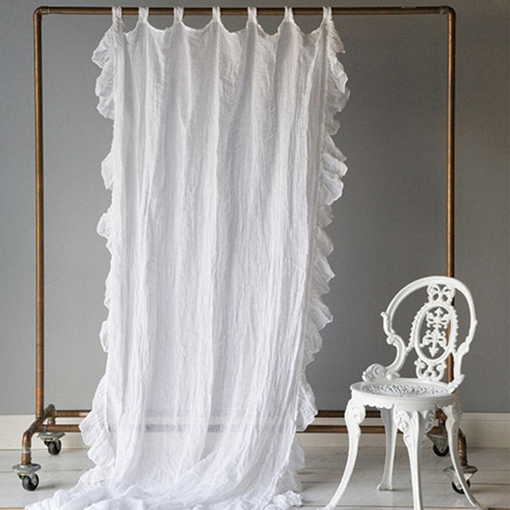 Bathroom Gorgeous Ruffle Curtains For Home Decoration Ideas Within White Ruffle Curtains (View 25 of 25)