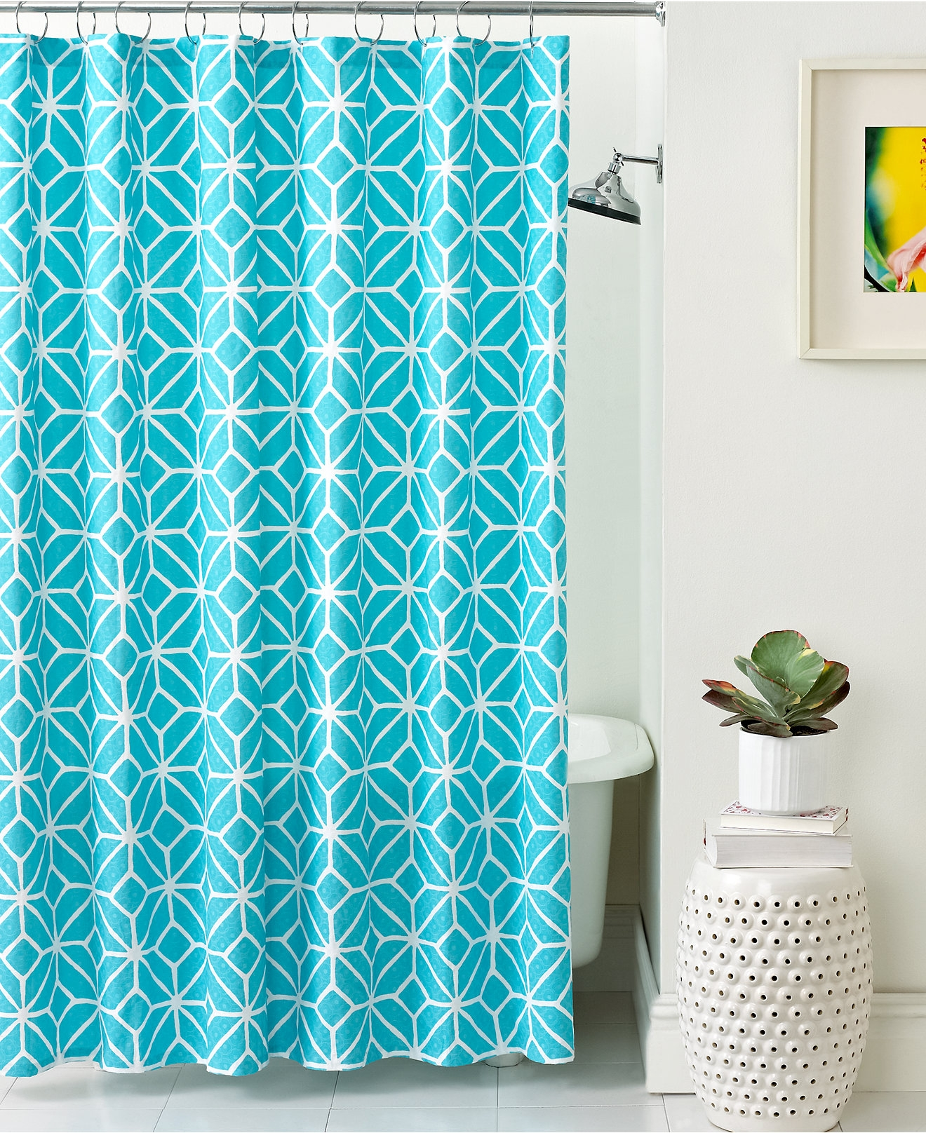 Bathroom Grey Patterned Ikat Shower Curtain For Bathroom Inside Turquoise Trellis Curtains (View 14 of 25)