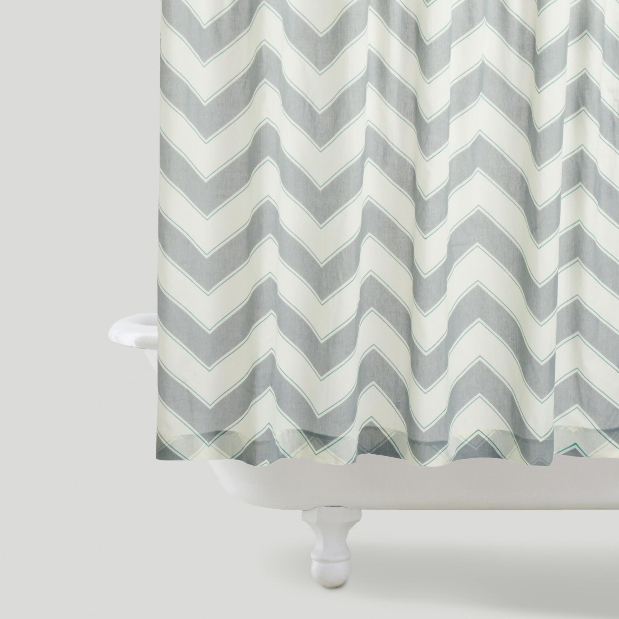 Bathroom Shower Curtains Great Ideas For Childrens Shower Within Gray Chevron Shower Curtains (Image 1 of 25)