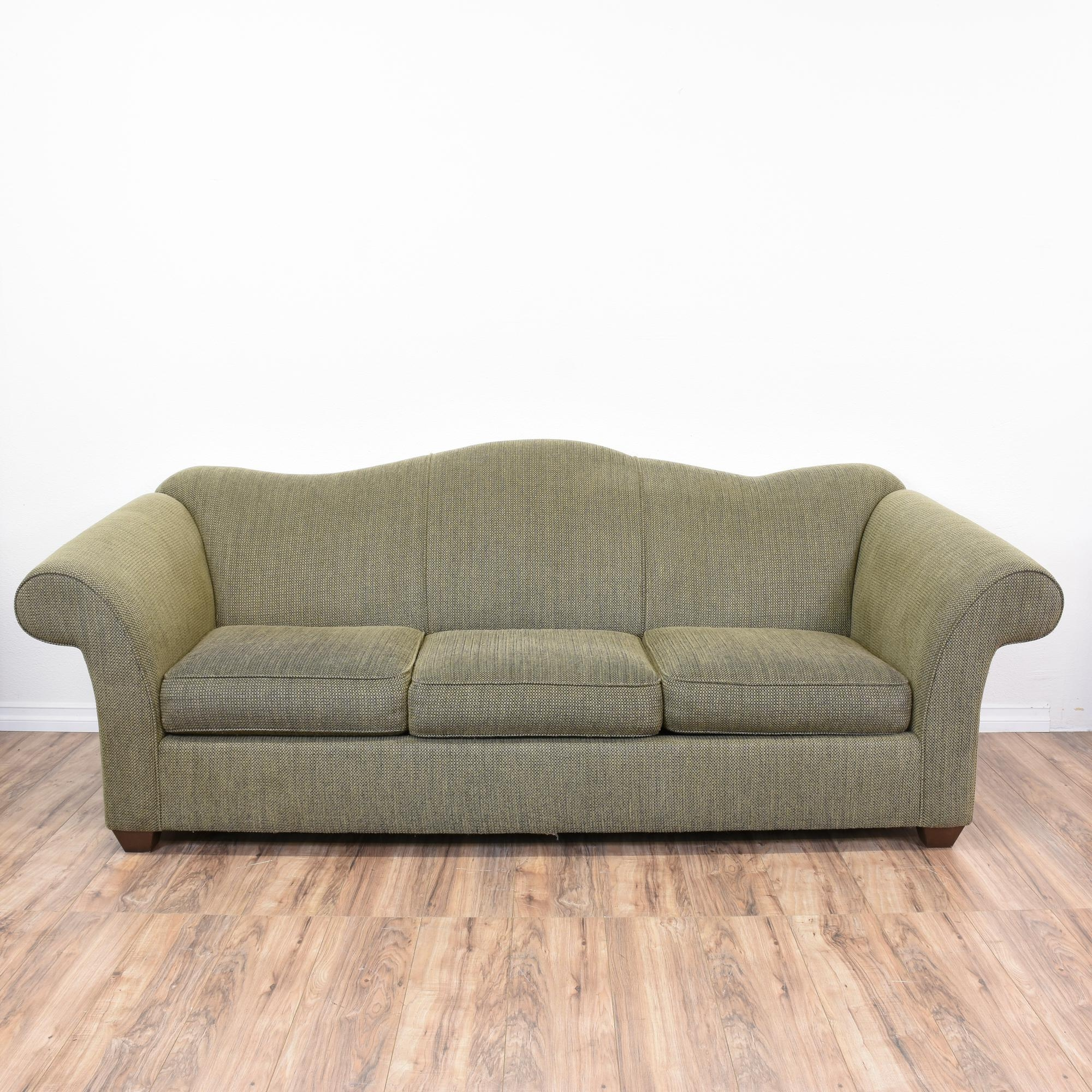 Bauhaus Green Tweed Camelback Sleeper Sofa Best Comfortable Intended For Chintz Sofa Beds (View 2 of 15)
