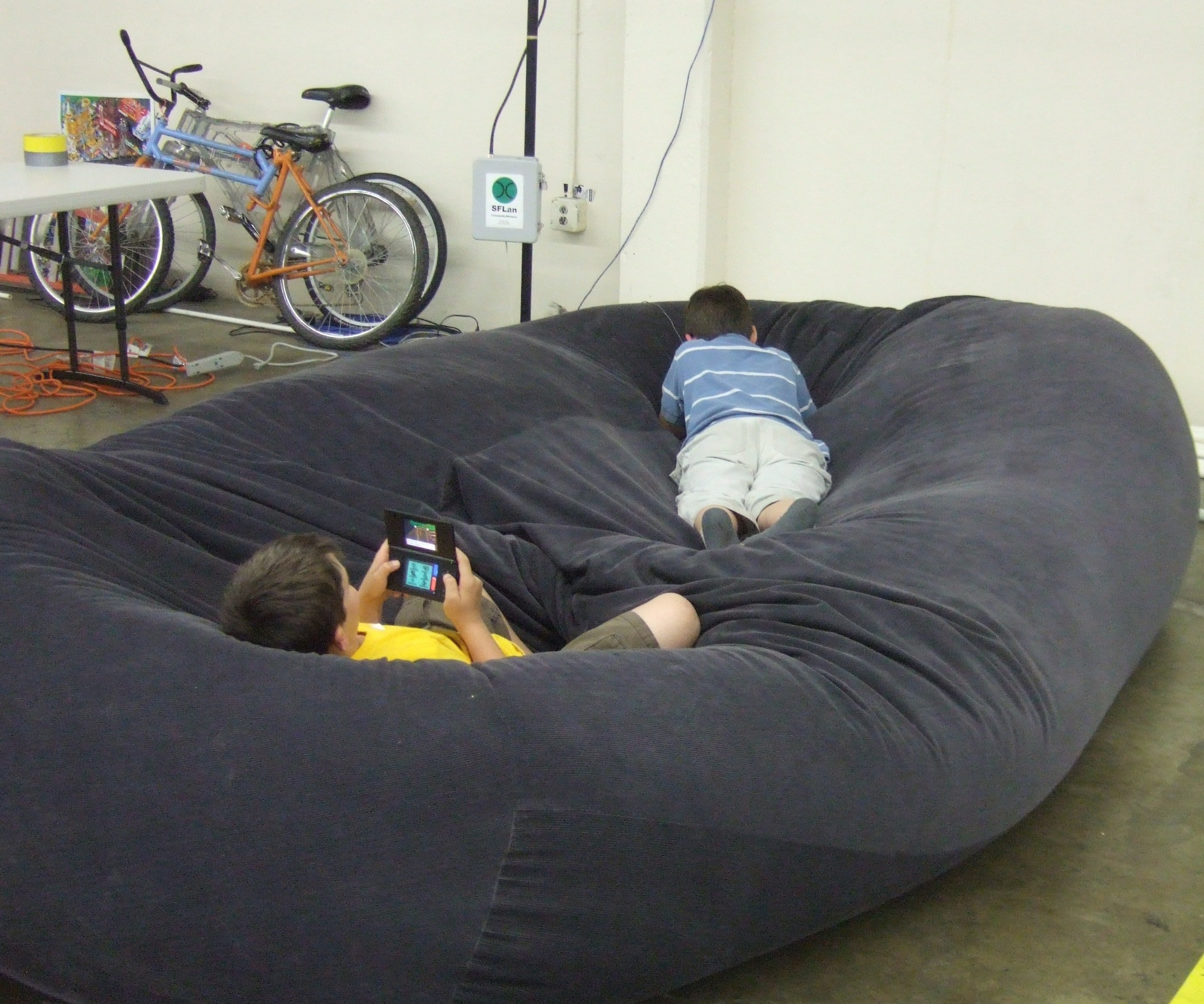 Bean Bag Sofa Bed Huge Bean Bag Chair Adoragemd Throughout Bean Bag Sofa Chairs (Image 3 of 15)