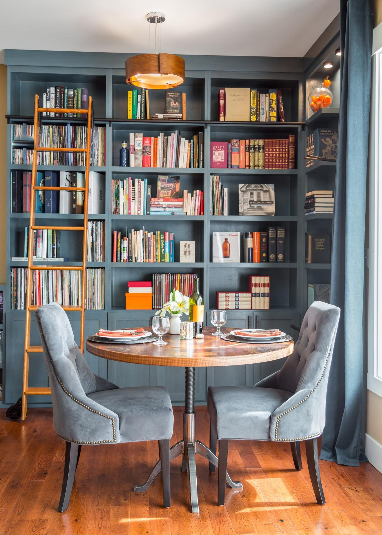 Beautiful Blue Home Library Nook Was Once A Disused Corner Hgtv With Library Cupboards (Image 1 of 15)