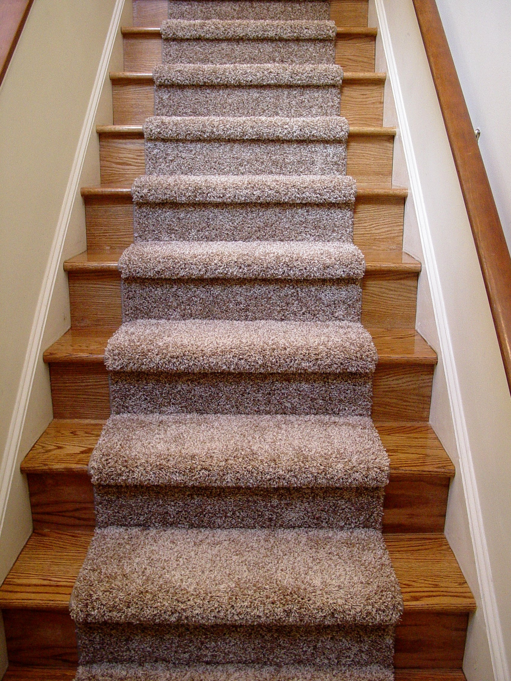 Beautiful Carpet Runner For Wooden Stairs With Nice Blue Chenille With Regard To Carpet For Wood Stairs (Image 2 of 15)