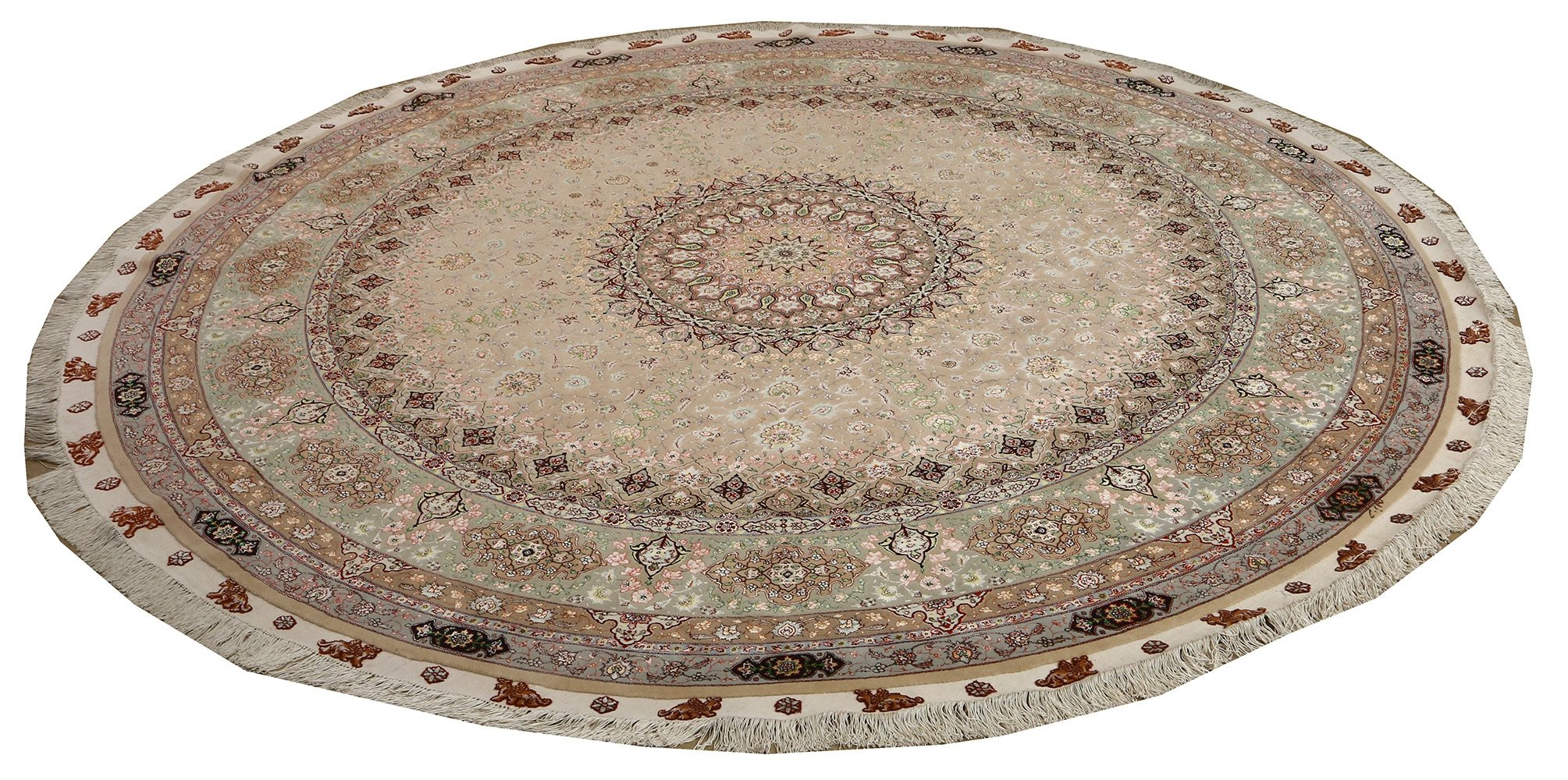 Beautiful Round Vintage Tabriz Persian Rug 51128 Nazmiyal Intended For Round Persian Rugs (Image 4 of 15)