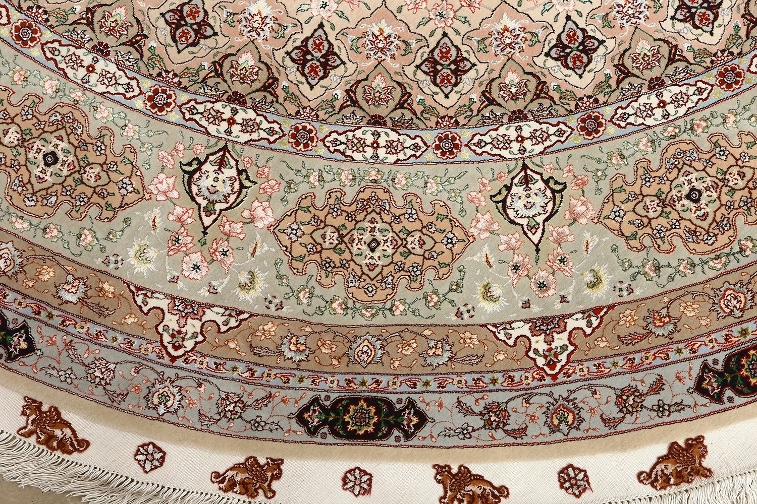 Beautiful Round Vintage Tabriz Persian Rug 51128 Nazmiyal With Regard To Round Persian Rugs (View 15 of 15)
