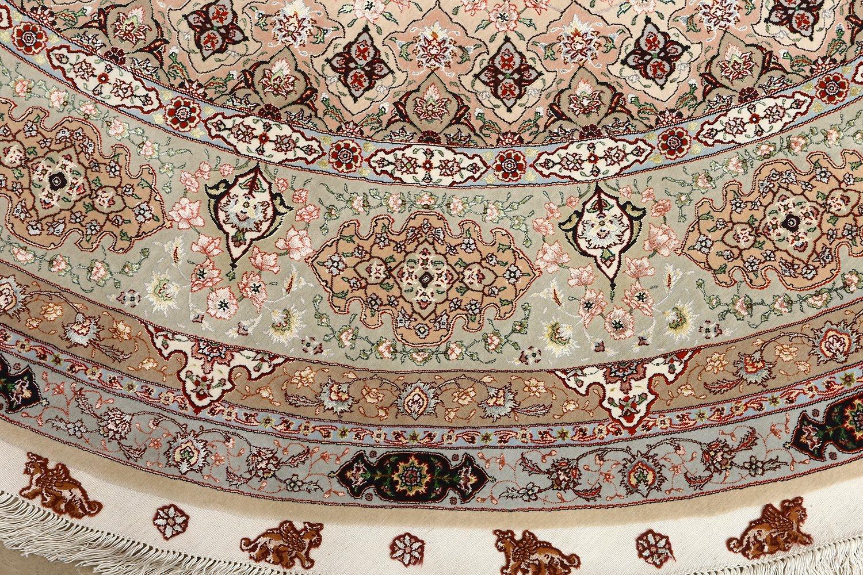 Beautiful Round Vintage Tabriz Persian Rug 51128 Nazmiyal With Regard To Round Persian Rugs (Image 5 of 15)