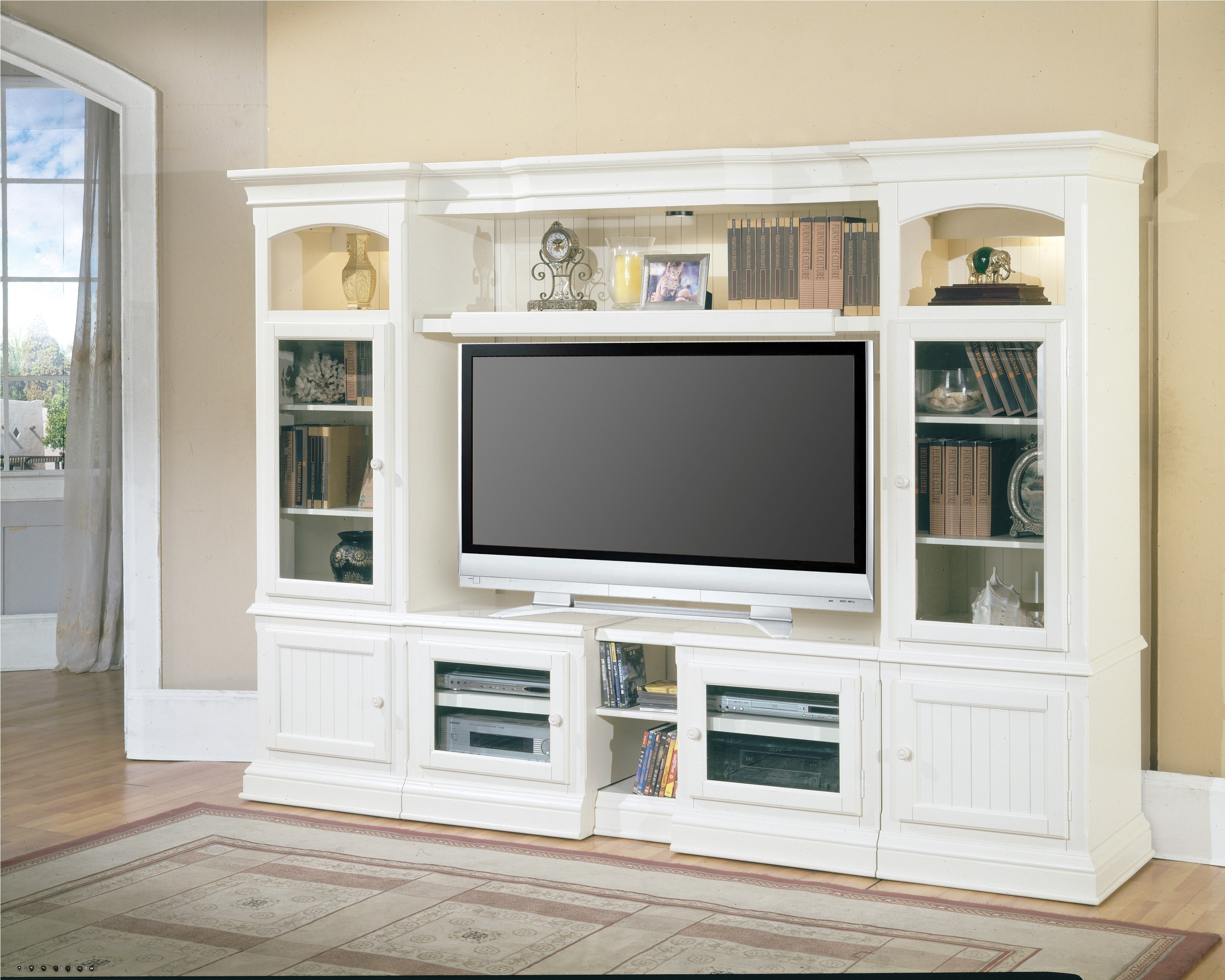 Beautiful White Black Wood Cool Design Living Room Wall Led With Regard To Tv Cabinet And Bookcase (Image 3 of 15)