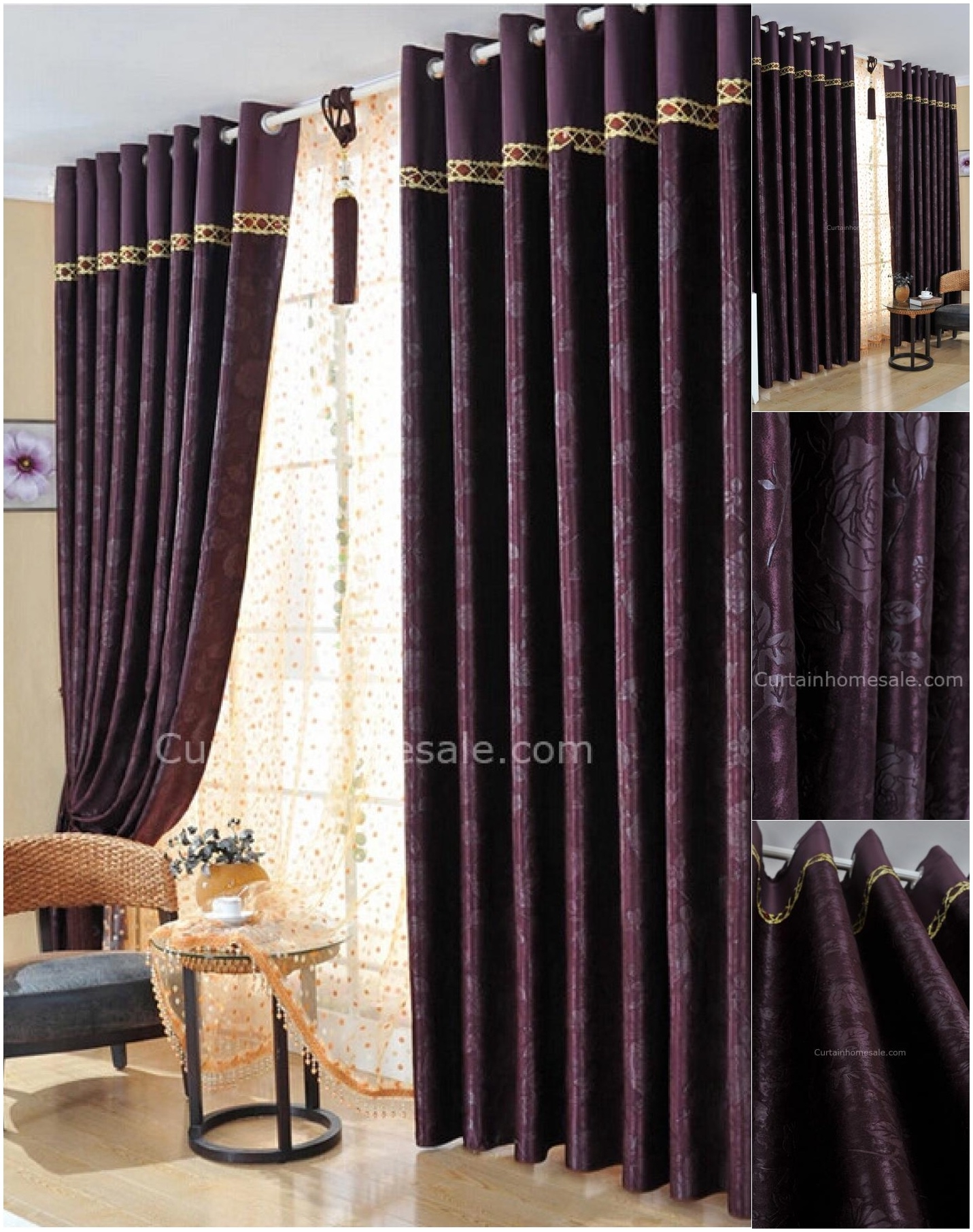Dark Purple Bedroom Curtains