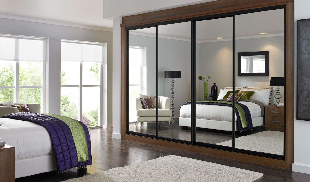 Bedroom Bespoke Built In Fitted Wardrobe Mirrored Dark Wood Pertaining To Dark Wardrobes (View 11 of 15)