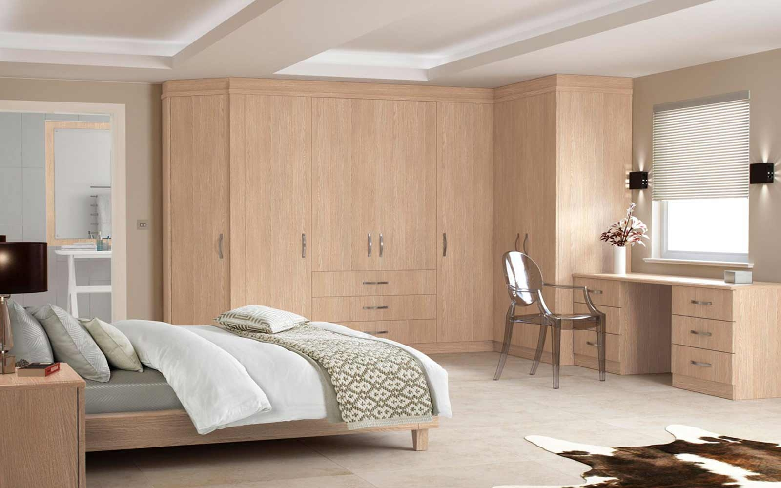 Bedroom Bespoke Built In Fitted Wardrobe Mirrored Dark Wood Throughout Solid Wood Fitted Wardrobes (Image 2 of 15)