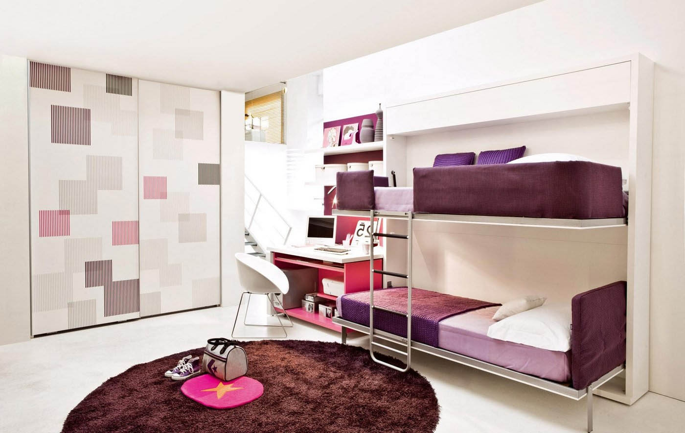 Bedroom Concealed Wall Bed Red Cushion Bookcase Wardrobe Space In Space Saving Wardrobes (Image 4 of 25)