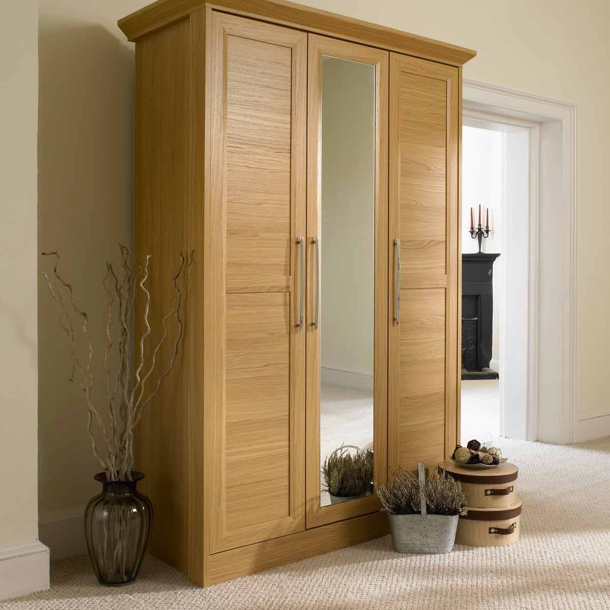 Bedroom Furniture Modern Wooden Bedroom Armoire Mirror Door Intended For Large Wooden Wardrobes (Image 5 of 25)