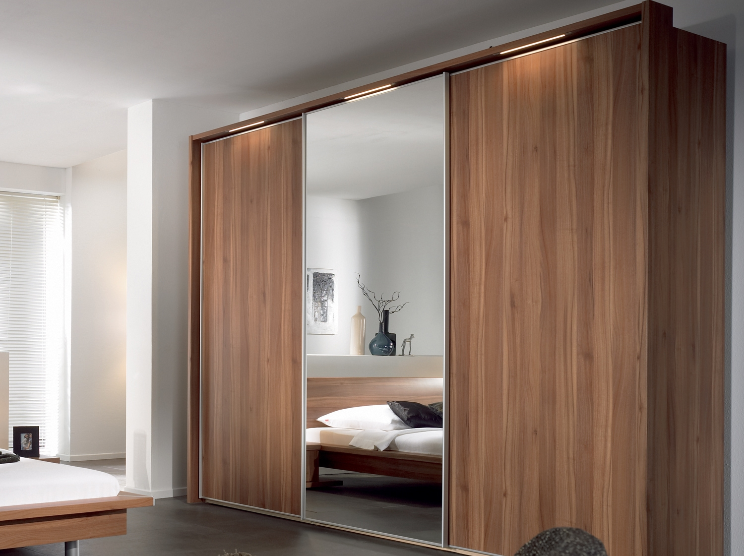 Bedroom Furniture Wooden Wardrobe Cabinet With Mirror Classic Intended For Large Wooden Wardrobes (Image 8 of 25)