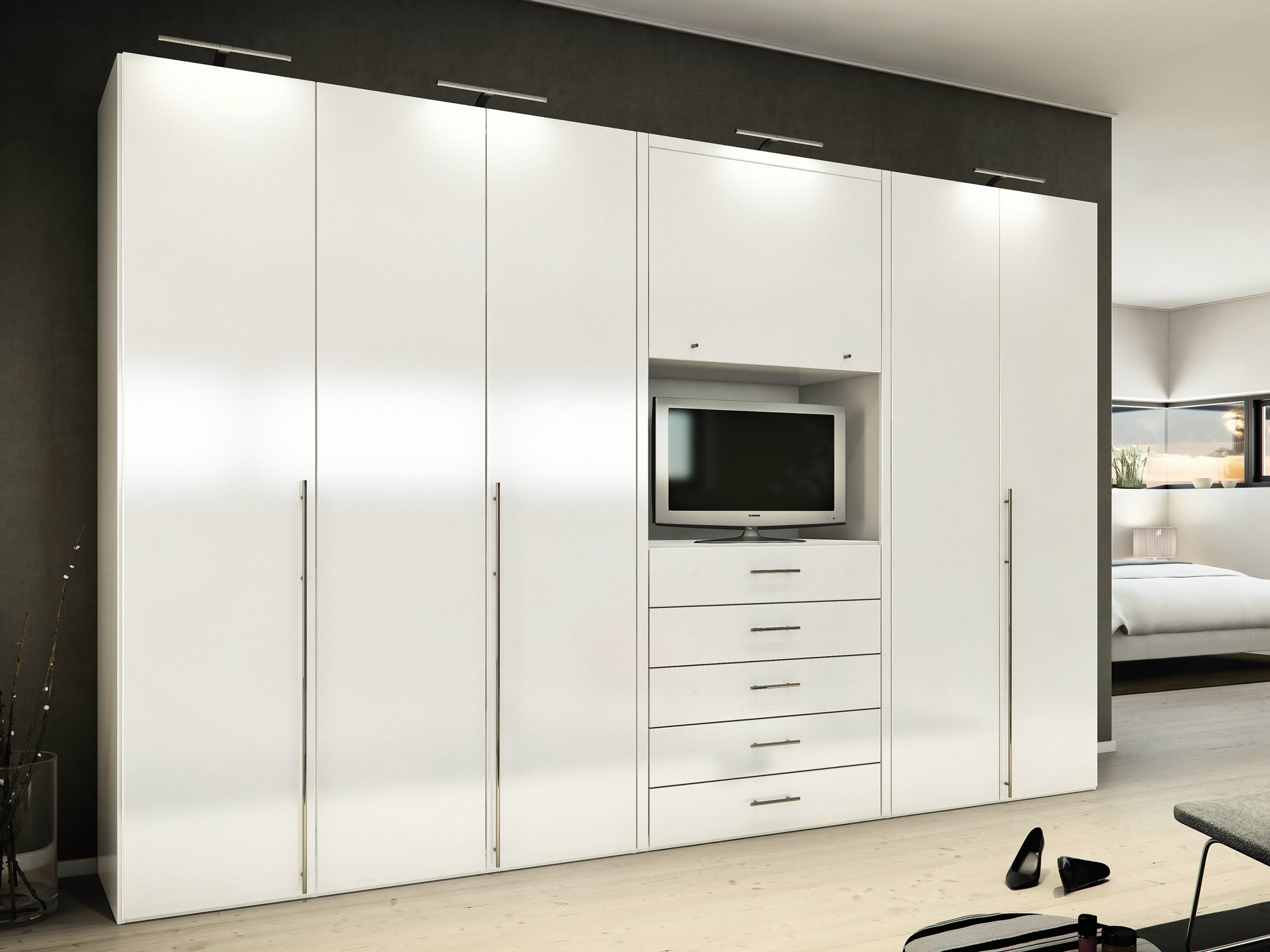 Bedroom Ideas Furniture Mesmerizing White High Gloss Built In Regarding Wardrobe With Drawers And Shelves (Image 1 of 15)
