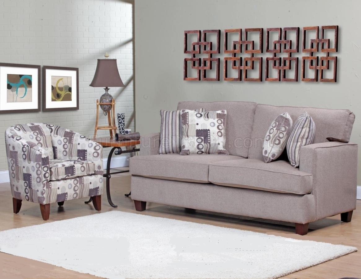 Beige Fabric Modern Sofa Accent Chair Set Woptions With Regard To Sofa And Accent Chair Set (Image 3 of 15)