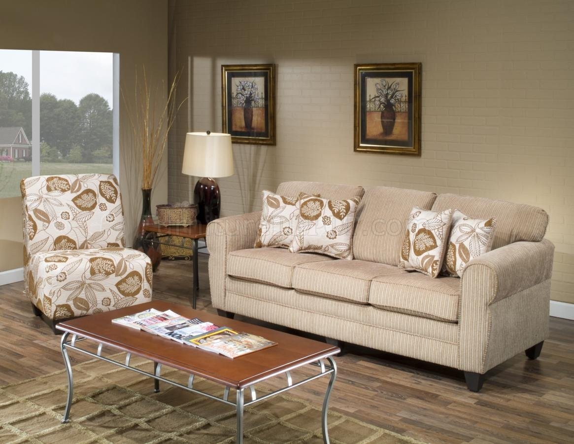 Beige Fabric Modern Sofa And Accent Chair Set Woptions Intended For Sofa And Chair Set (Image 2 of 15)