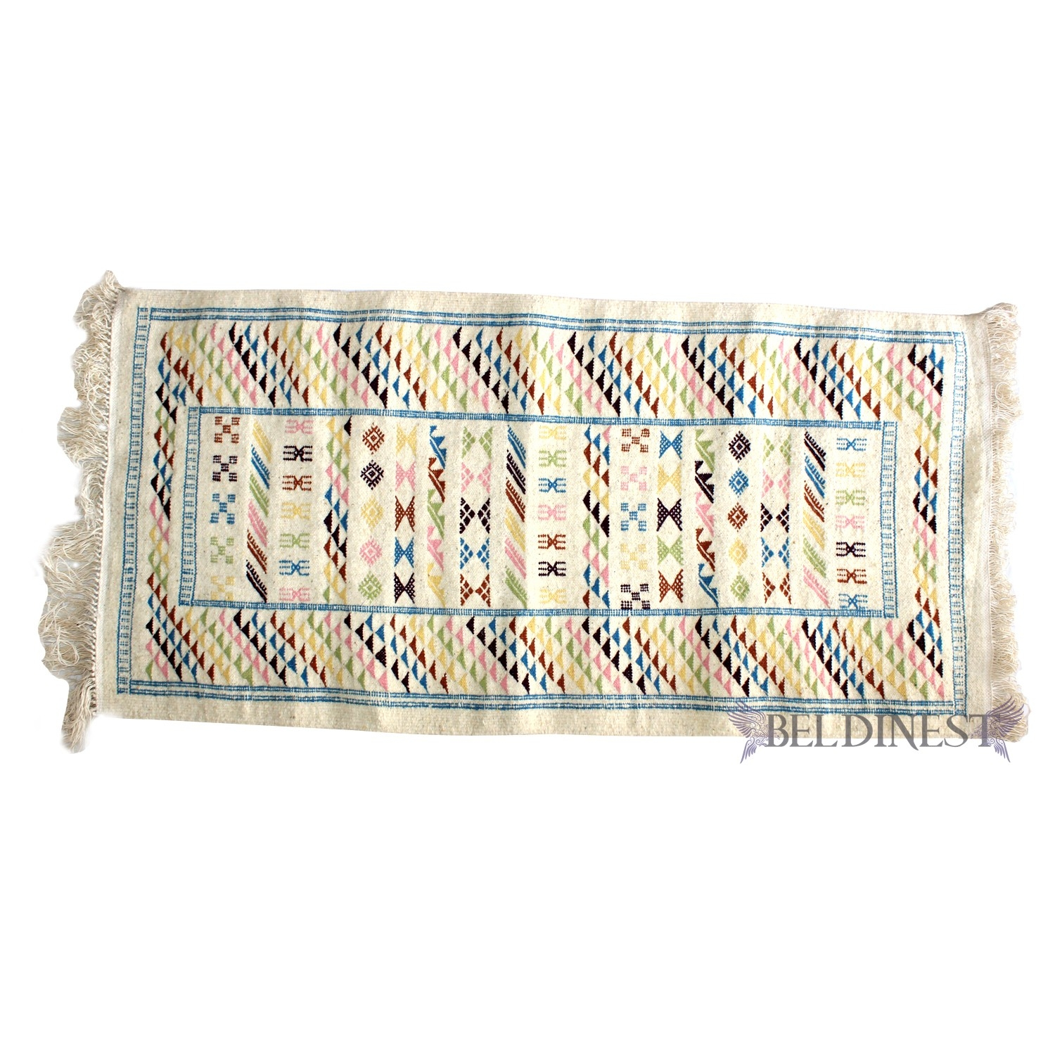 Beige Moroccan Rug Handwoven Wool Rug Area Rug Handmade Kilim Rug Pertaining To Small Wool Rugs (View 2 of 15)