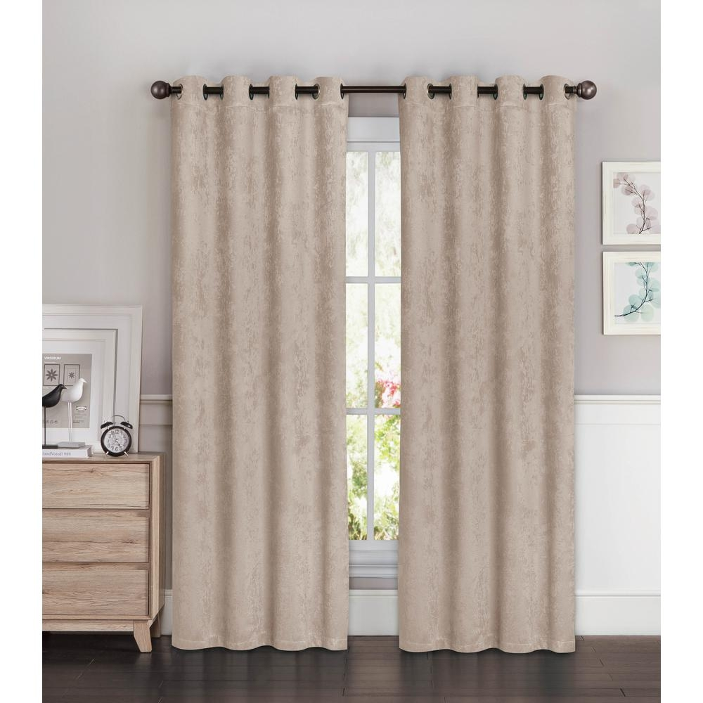 Bella Luna Faux Suede Extra Wide 96 In L Room Darkening Grommet Regarding Faux Suede Curtain Panels (Image 7 of 25)