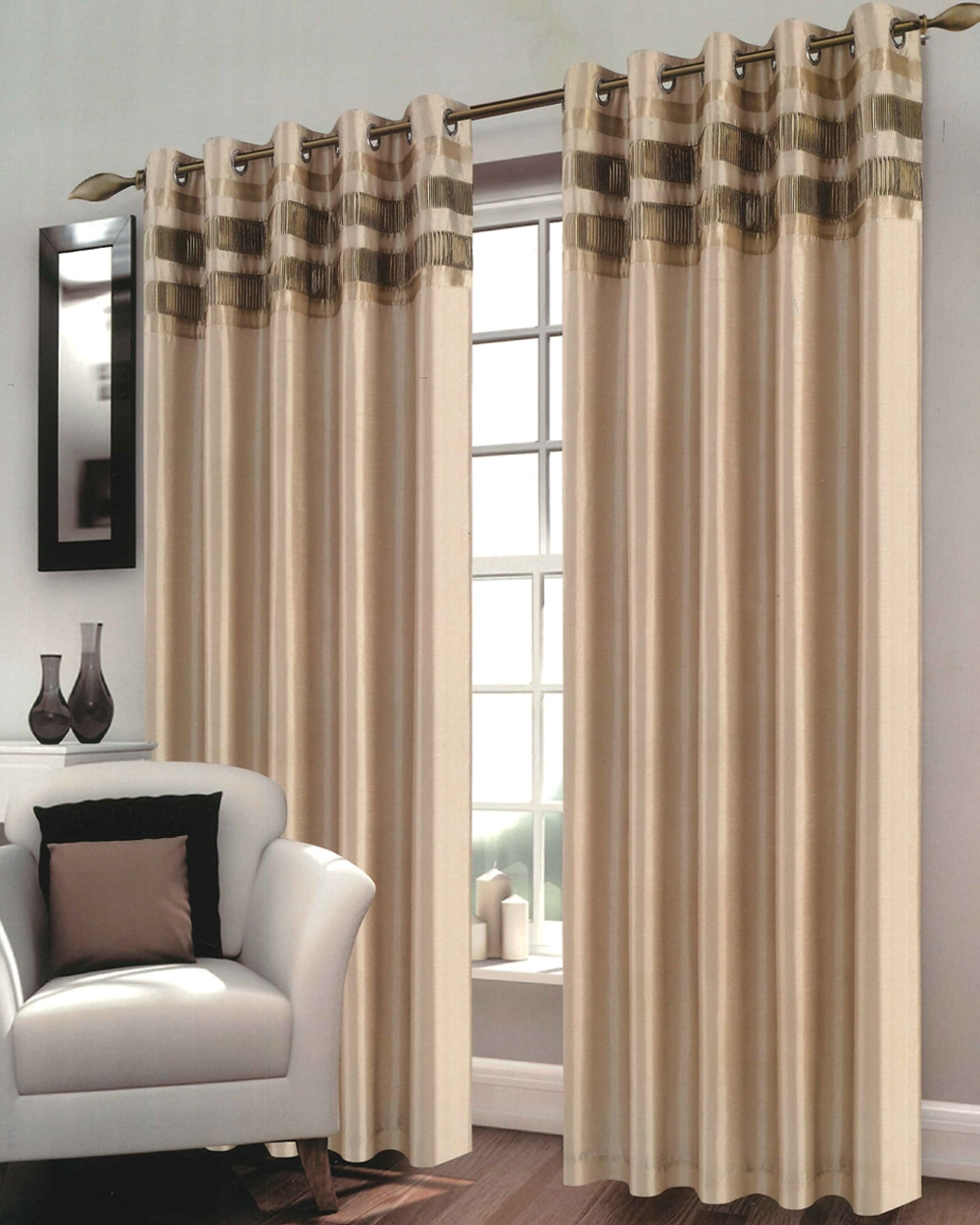 Bergen Gold Ready Made Eyelet Curtains Harry Corry Limited With Brown Eyelet Curtains (Image 3 of 25)