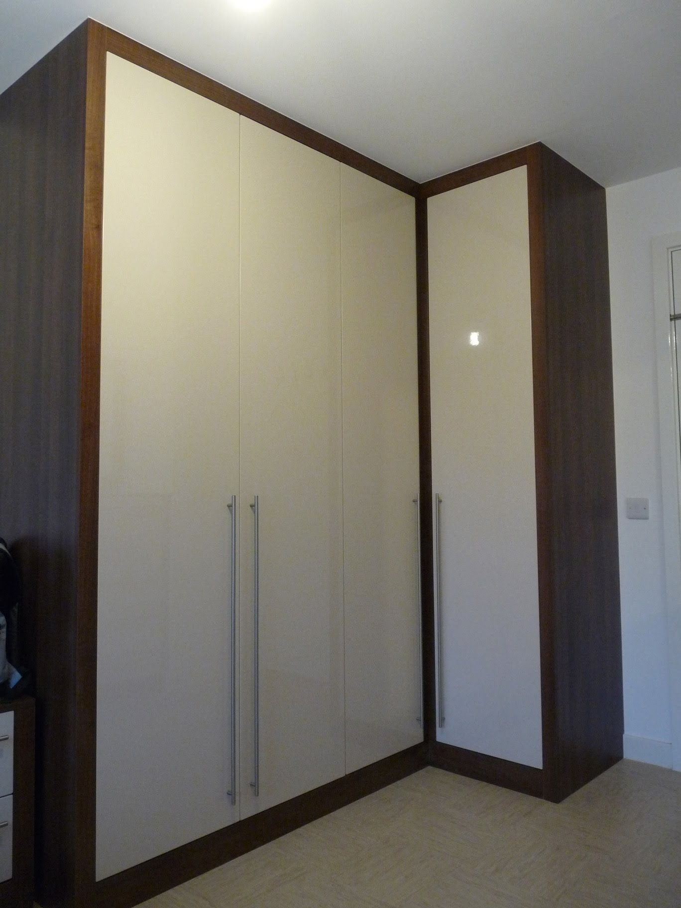 Bespoke Fitted Wardrobes Chunky Frame Dark Walnut Sand Stone Throughout Dark Wardrobes (Image 6 of 15)