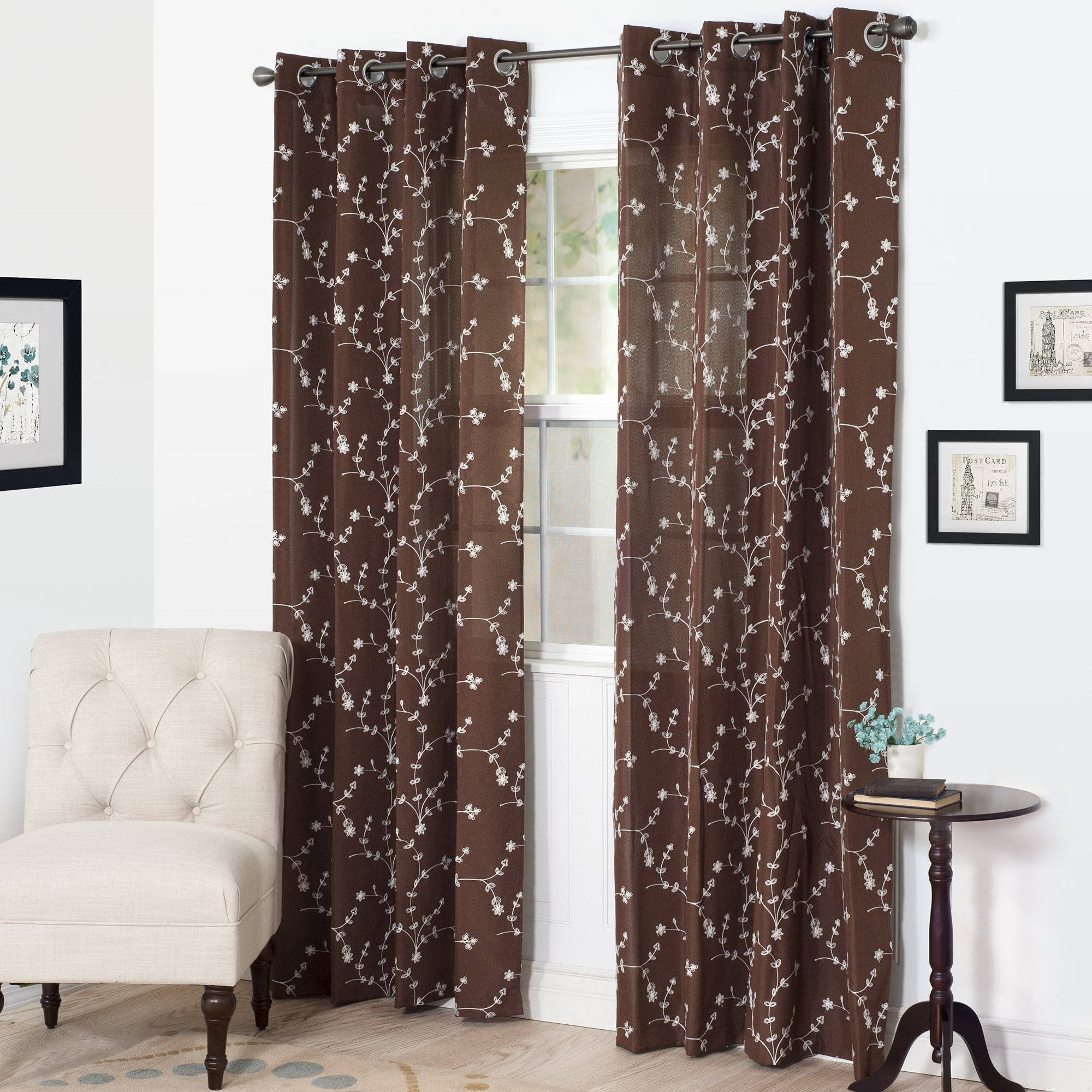Better Homes And Gardens Embroidered Sheer Curtain Panel Walmart Regarding Curtain Sheers (View 9 of 25)