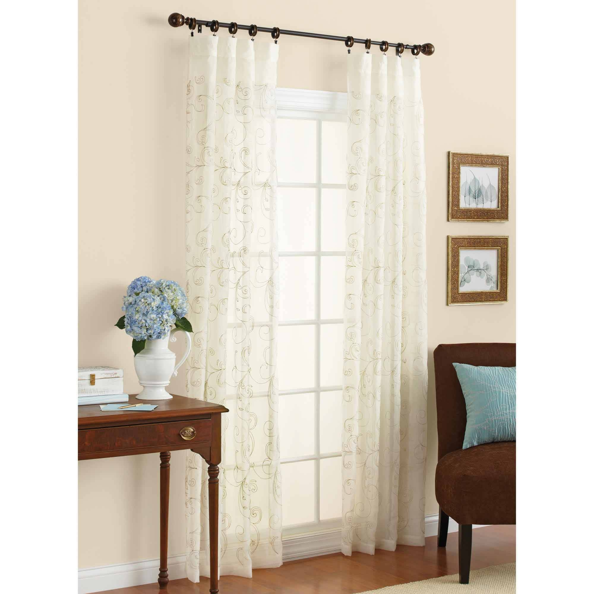 Better Homes And Gardens Embroidered Sheer Curtain Panel Walmart With Regard To Curtains Sheers (Image 4 of 25)