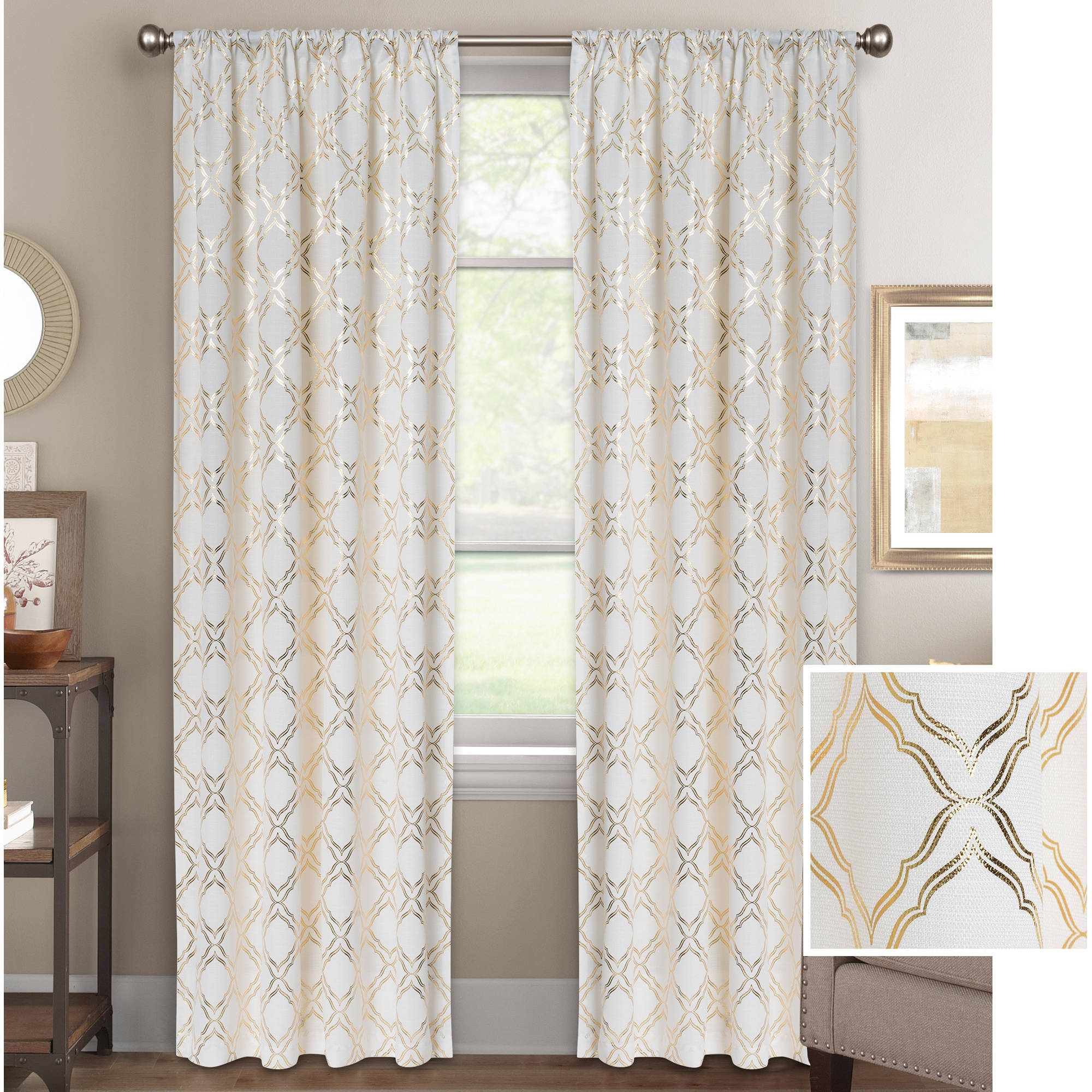 Better Homes And Gardens Metallic Trellis Gold Or Silver Foil Pertaining To Turquoise Trellis Curtains (View 10 of 25)