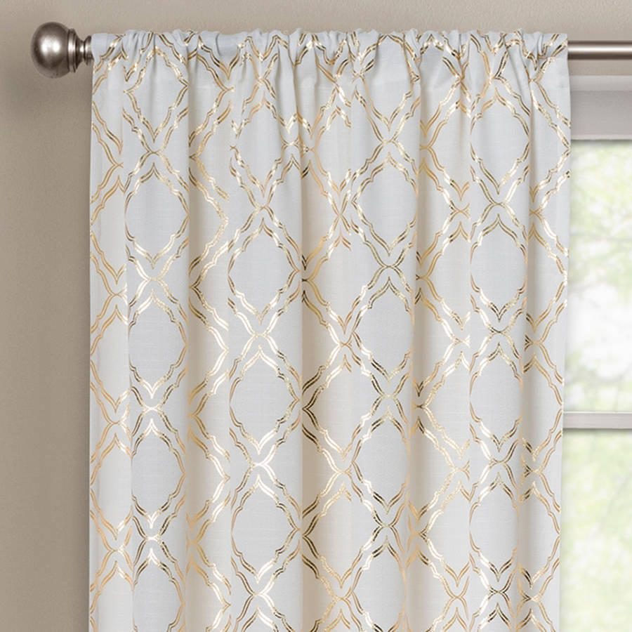 Better Homes And Gardens Metallic Trellis Gold Or Silver Foil Regarding Turquoise Trellis Curtains (Image 5 of 25)