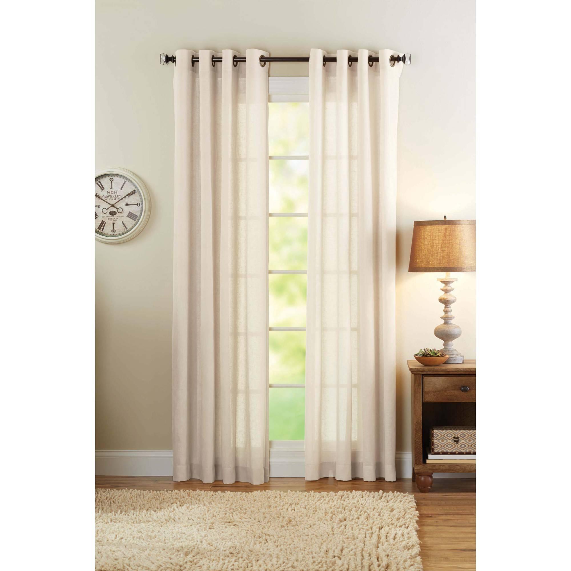 Better Homes And Gardens Semi Sheer Grommet Curtain Panel Regarding Linen Grommet Curtains (Image 3 of 25)