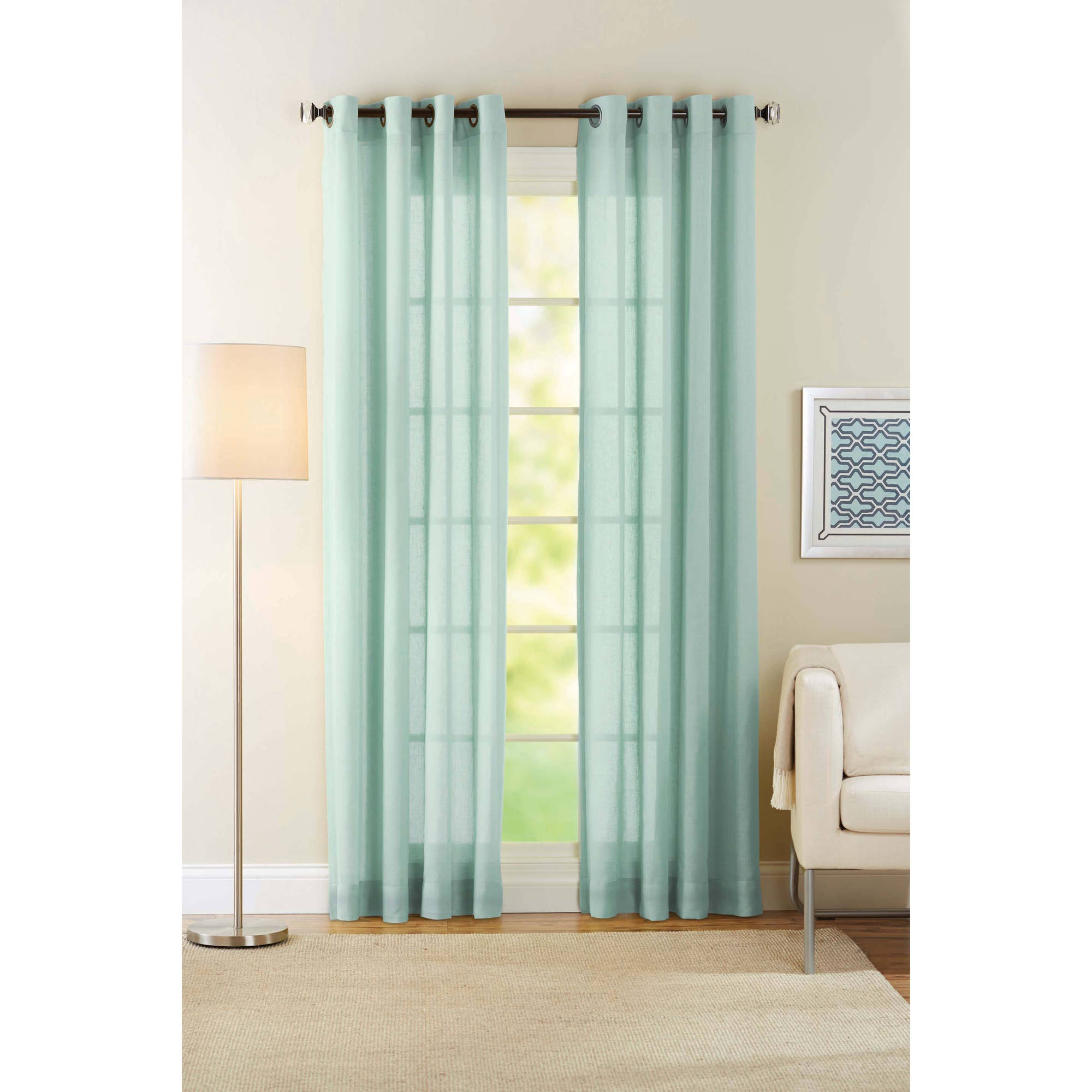Better Homes And Gardens Semi Sheer Window Curtain Walmart In Sheer White Curtain Panels (Image 3 of 25)