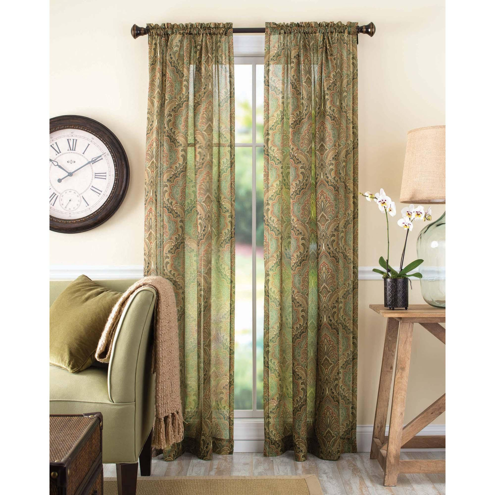 Better Homes And Gardens Tapestry Sheer Curtain Panel Walmart Regarding Pattern Curtain Panels (Image 2 of 25)