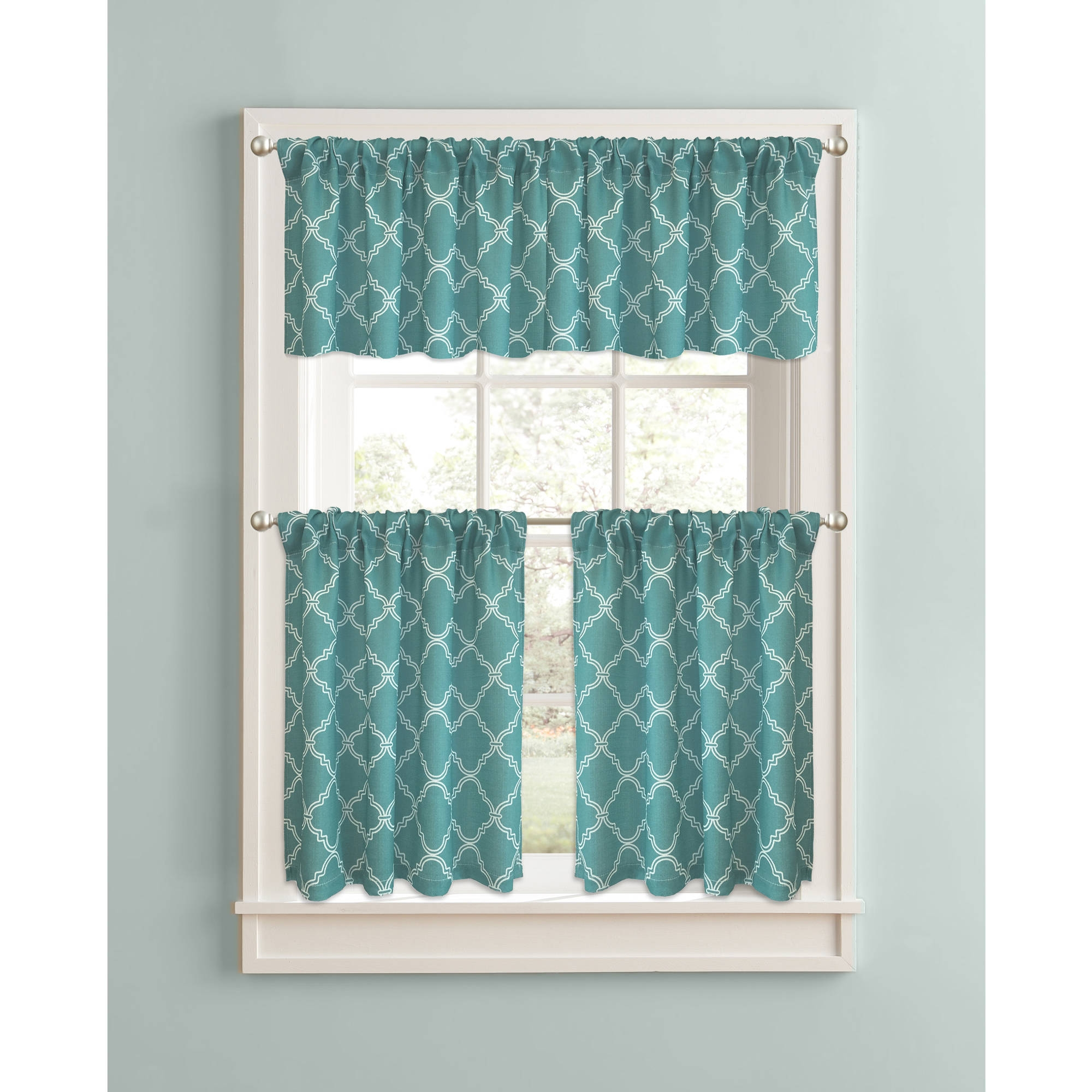 Better Homes And Gardens Trellis Kitchen Curtains Set Of 2 Inside Turquoise Trellis Curtains (Image 7 of 25)