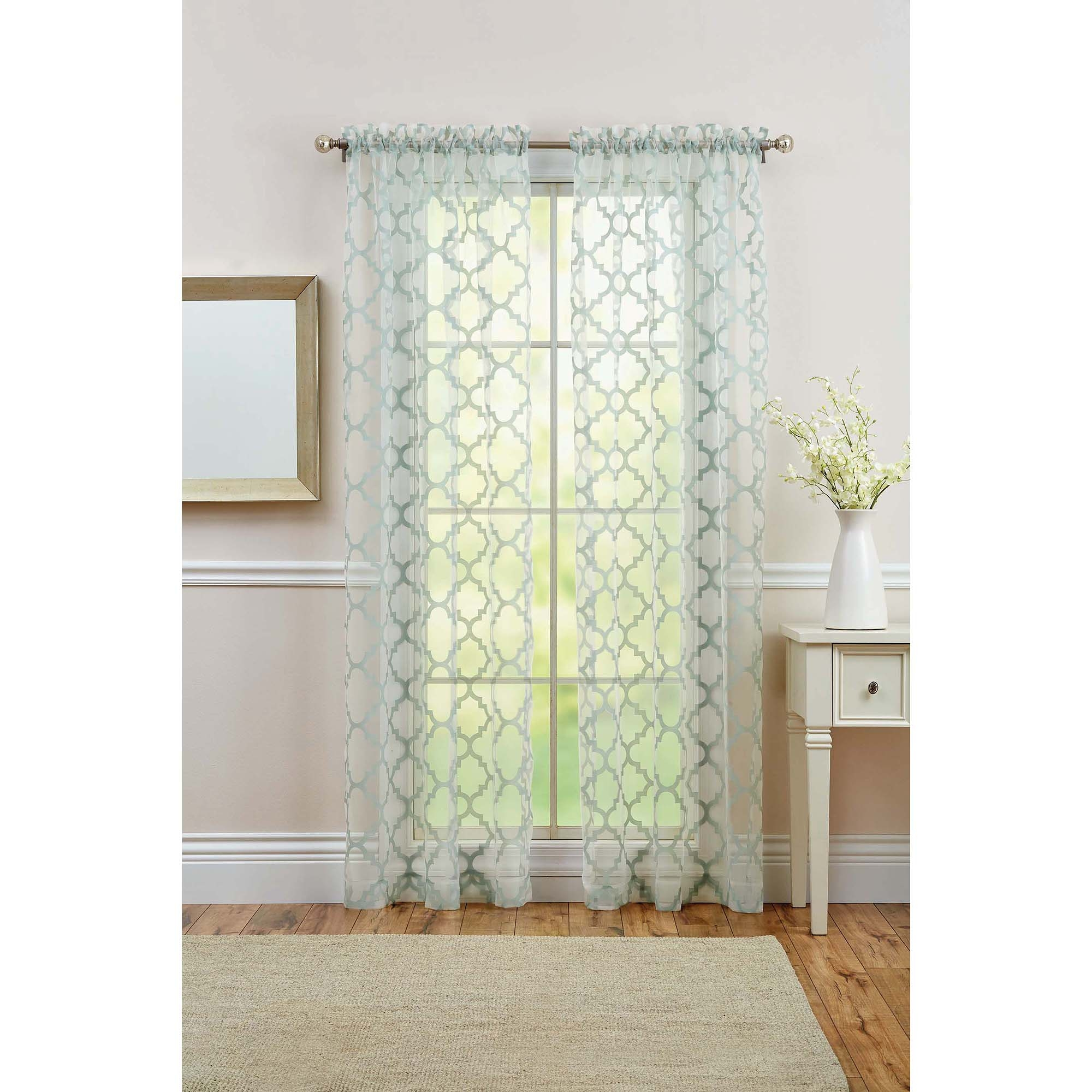 Better Homes And Gardens Trellis Rod Pocket Window Panel Walmart With Regard To Turquoise Trellis Curtains (View 19 of 25)