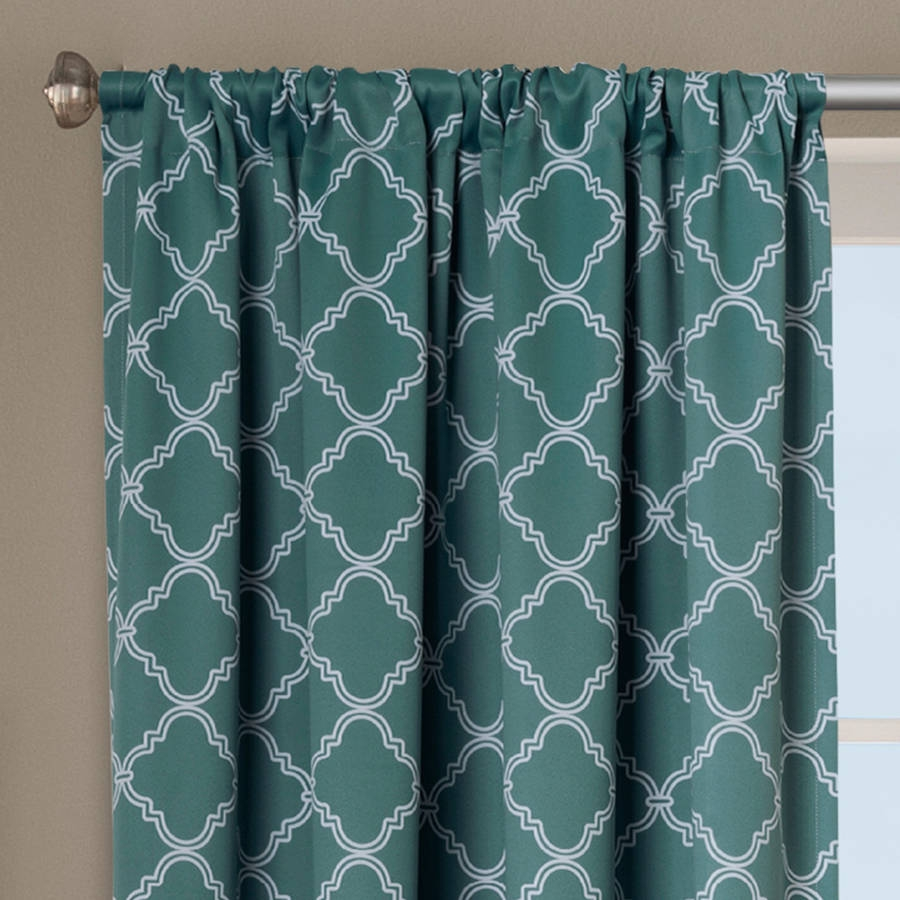 Better Homes And Gardens Trellis Room Darkening Curtain Panel Within Turquoise Trellis Curtains (Image 9 of 25)