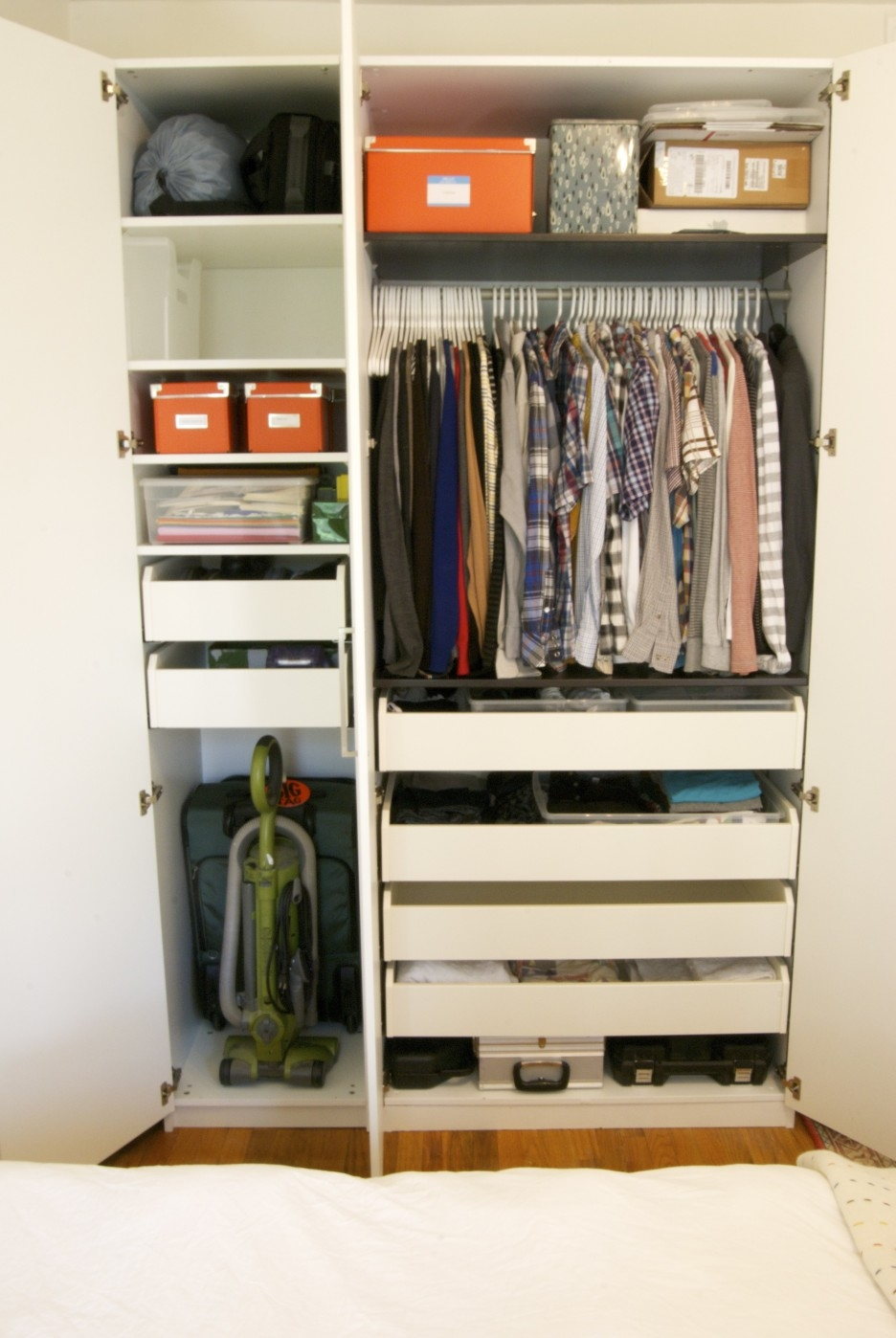 Big And Small Drawers On The High White Wooden Wardrobe Combined In Wardrobe With Shelves And Drawers (Image 5 of 15)