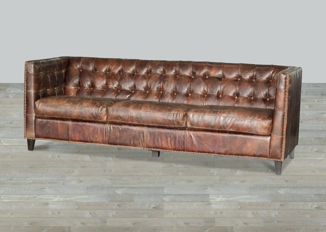 Black And Red Leather Sofa Faux With Rolled Arms Nailhead Trim Inside Old Fashioned Sofas (Image 1 of 15)