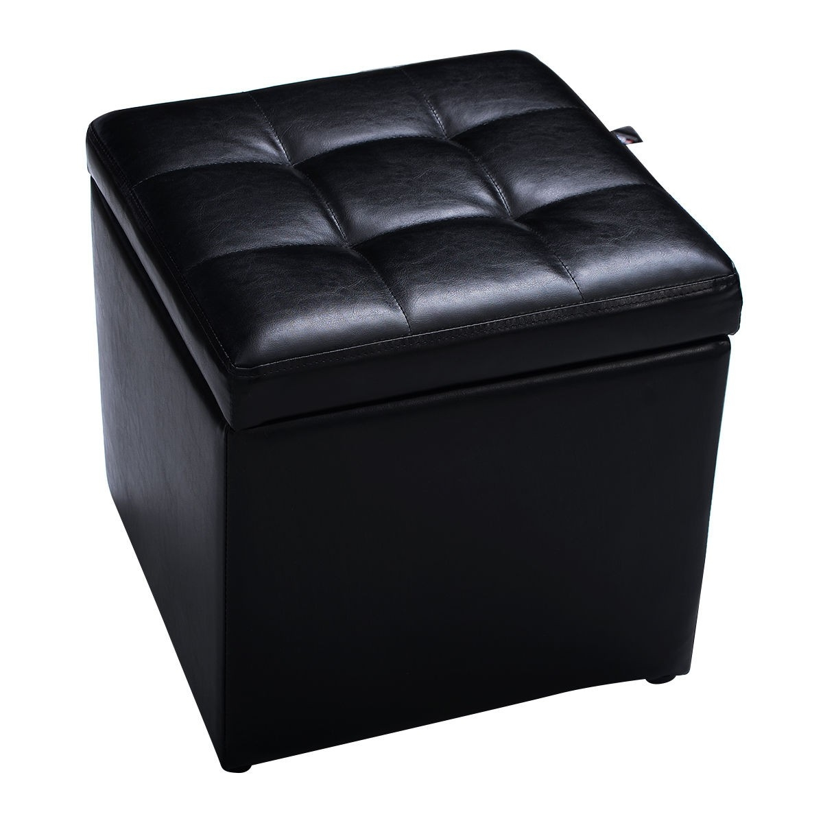 Black Foldable Cube Ottoman Pouffe Storage Seat Ottomans Furniture With Footstools And Pouffes With Storage (Image 1 of 15)