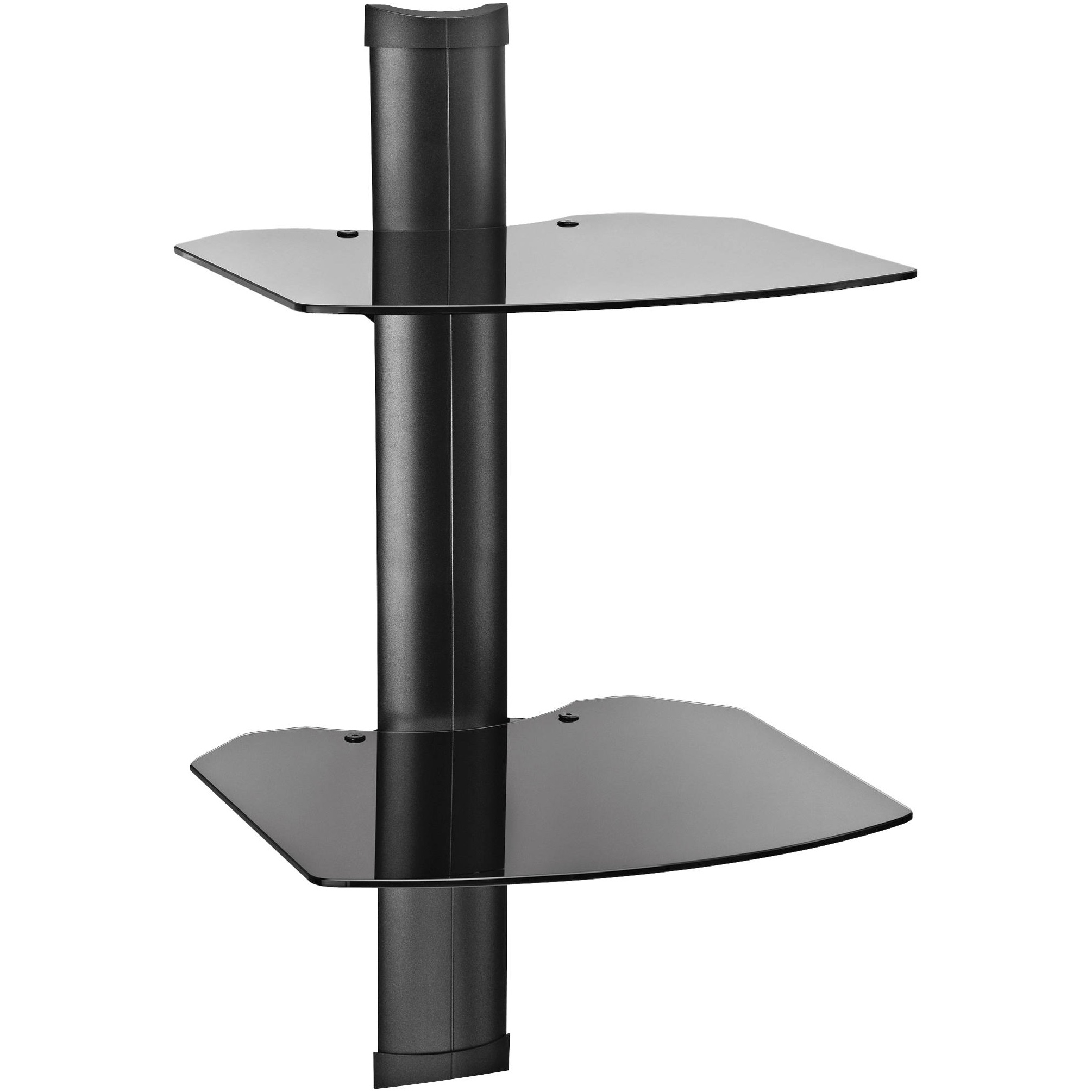 Black Glass Corner Wall Shelf Omnimount Double Glass Wall Shelf Regarding Wall Mounted Black Glass Shelves (View 12 of 15)