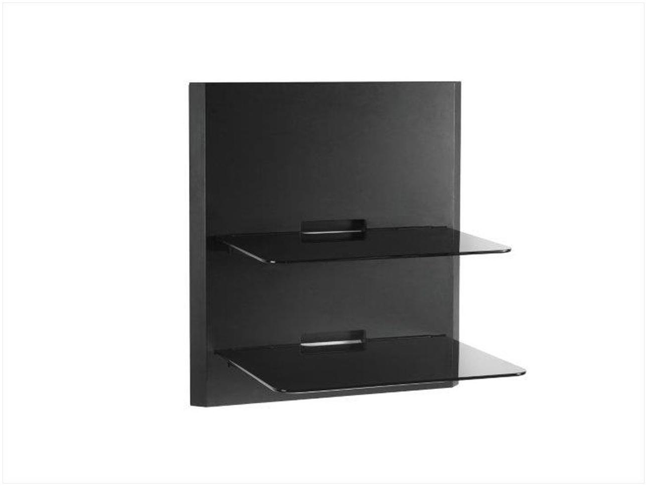 Black Glass Corner Wall Shelves Vonhaus 1x Black Floating Shelf In Black Glass Shelves Wall Mounted (Image 3 of 15)