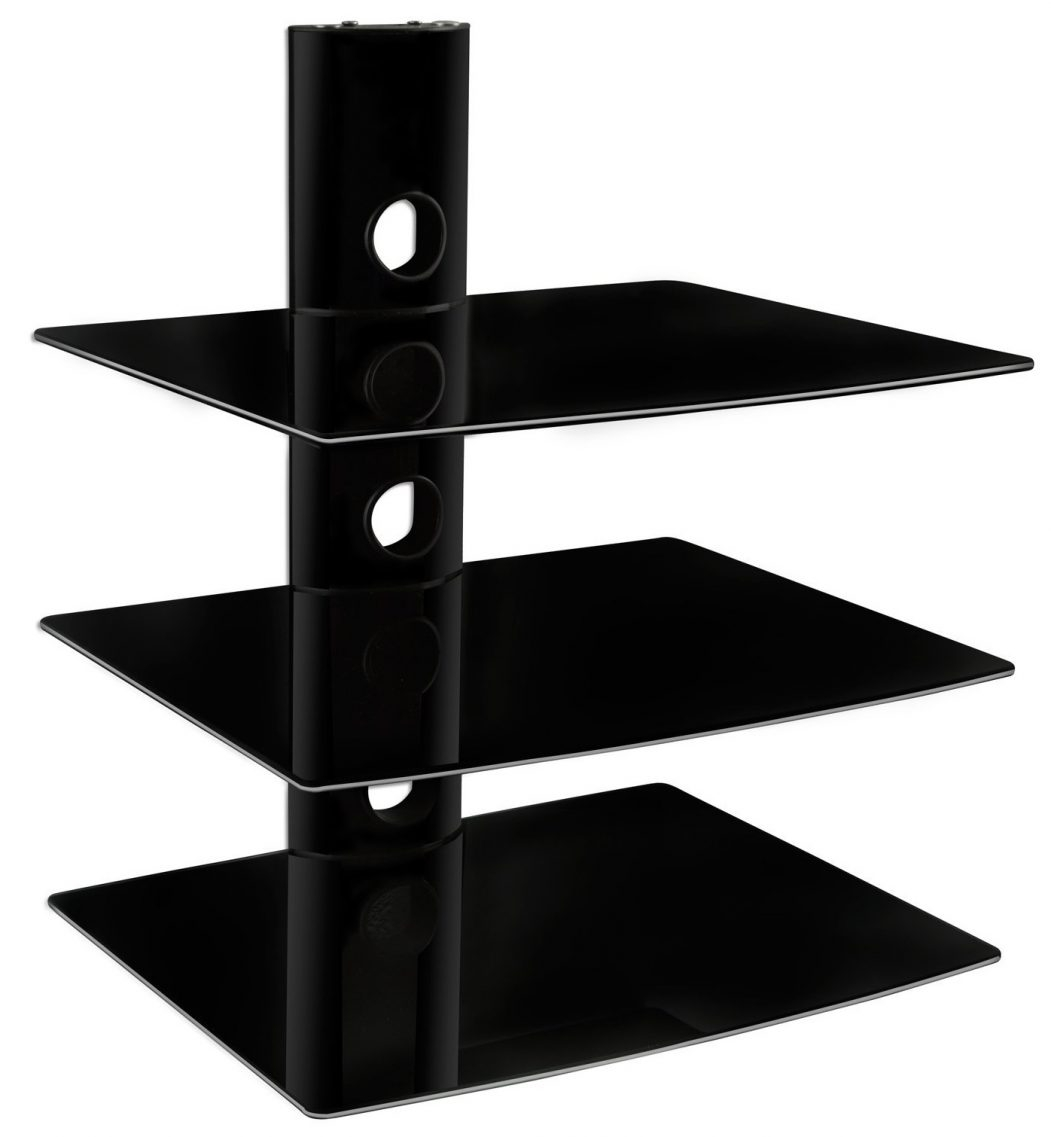 Black Glass Wall Shelf Floating Corner Shelves Floating Bookcase Inside Floating Black Glass Shelves (Image 4 of 15)