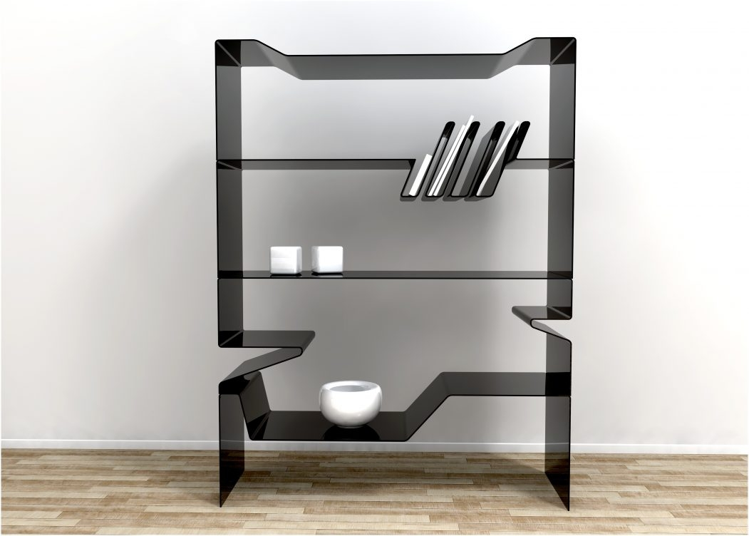 Black Glass Wall Shelf Floating Corner Shelves Floating Bookcase With Regard To Large Glass Corner Shelves (Image 4 of 15)