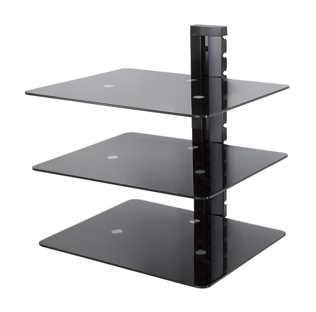 Black Glass Wall Shelves Uk Contemporary Free Standing Wall Regarding Free Standing Glass Shelves (Image 4 of 15)