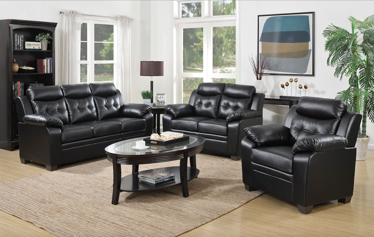 Black Leather Casual Sofa With Regard To Casual Sofas And Chairs (Image 2 of 15)