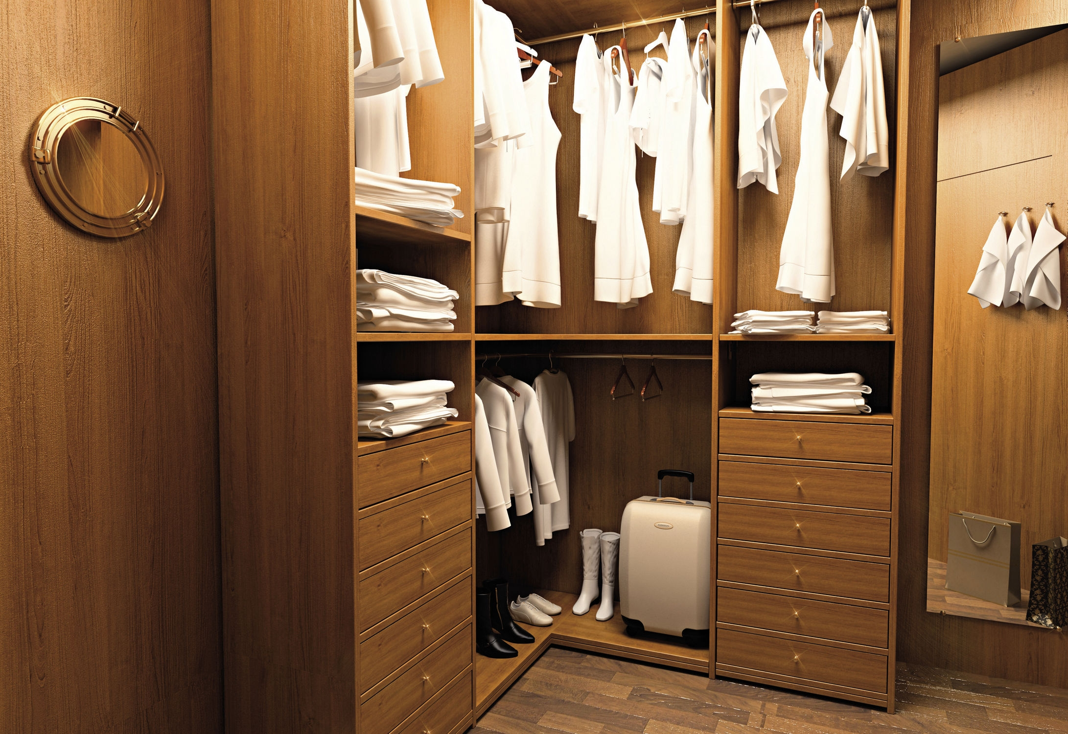 Black Stained Solid Wood Wardrobe Having Open Shelf And Drawers Throughout Solid Wood Wardrobe Closets (Image 4 of 25)