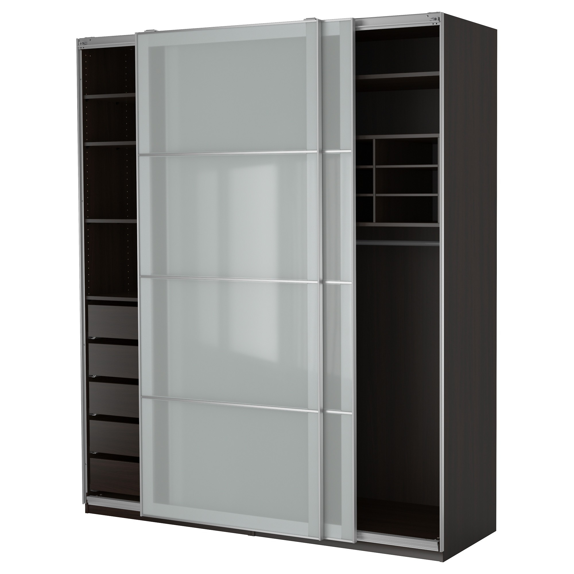 Black Stained Solid Wood Wardrobe Having Open Shelf And Drawers With Regard To Solid Wood Wardrobe Closets (Image 5 of 25)
