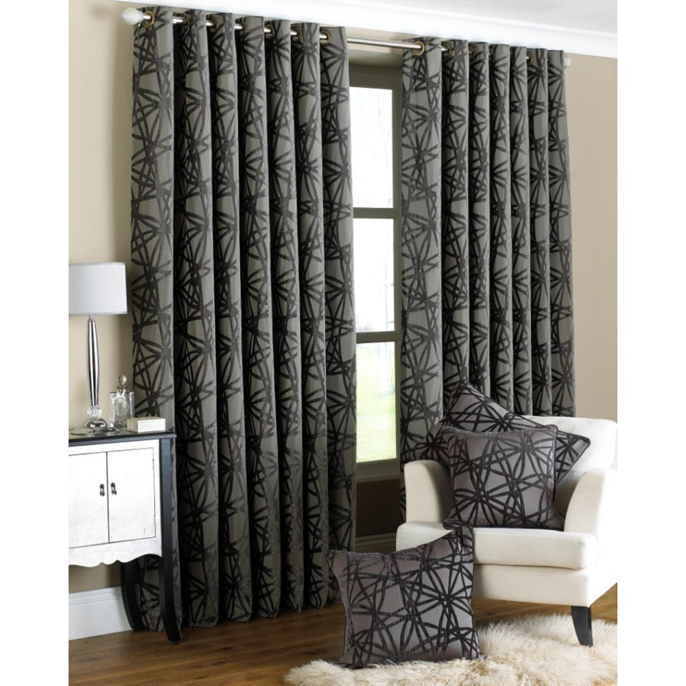 Black Velvet Curtains Ready Made Velour Leaf Trail Eyelet Within Grey Eyelet Curtains (Image 2 of 25)