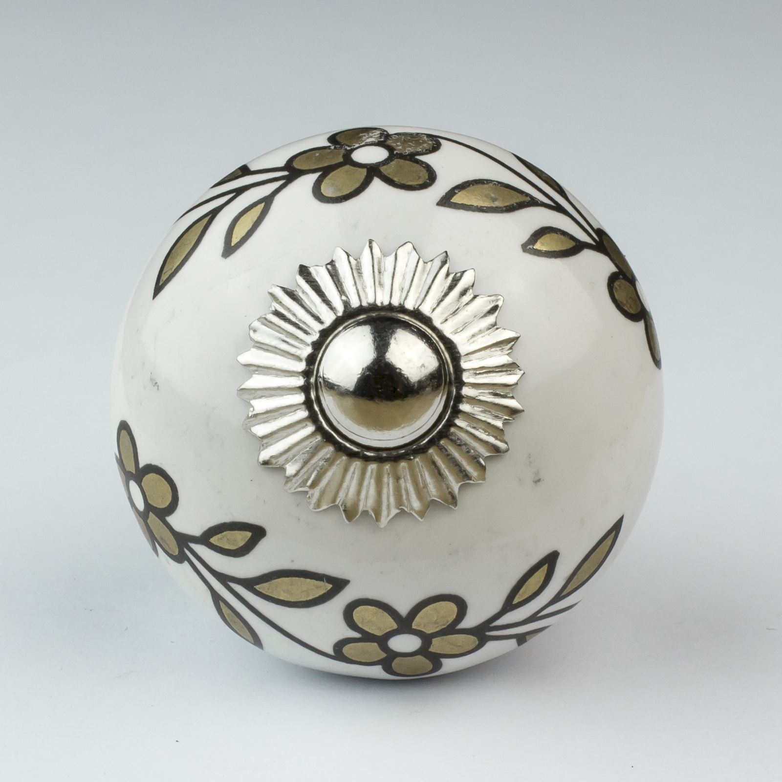 Black White Silver Grey Ceramic Door Knobs Handles Furniture Throughout Porcelain Cupboard Knobs (Image 5 of 25)