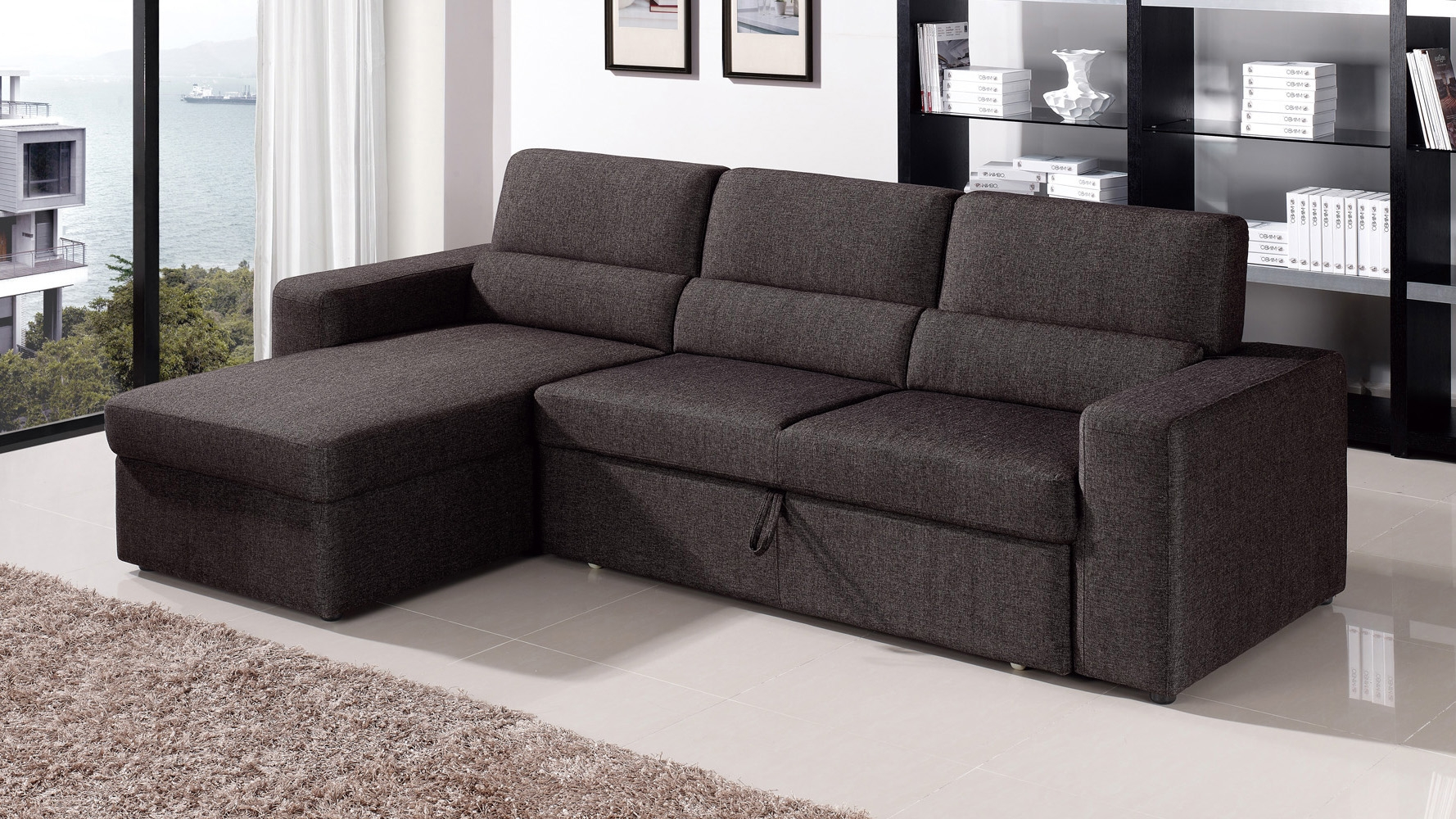 Blackbrown Clubber Sleeper Sectional Sofa Zuri Furniture Inside Pull Out Sofa Chairs (Image 5 of 15)