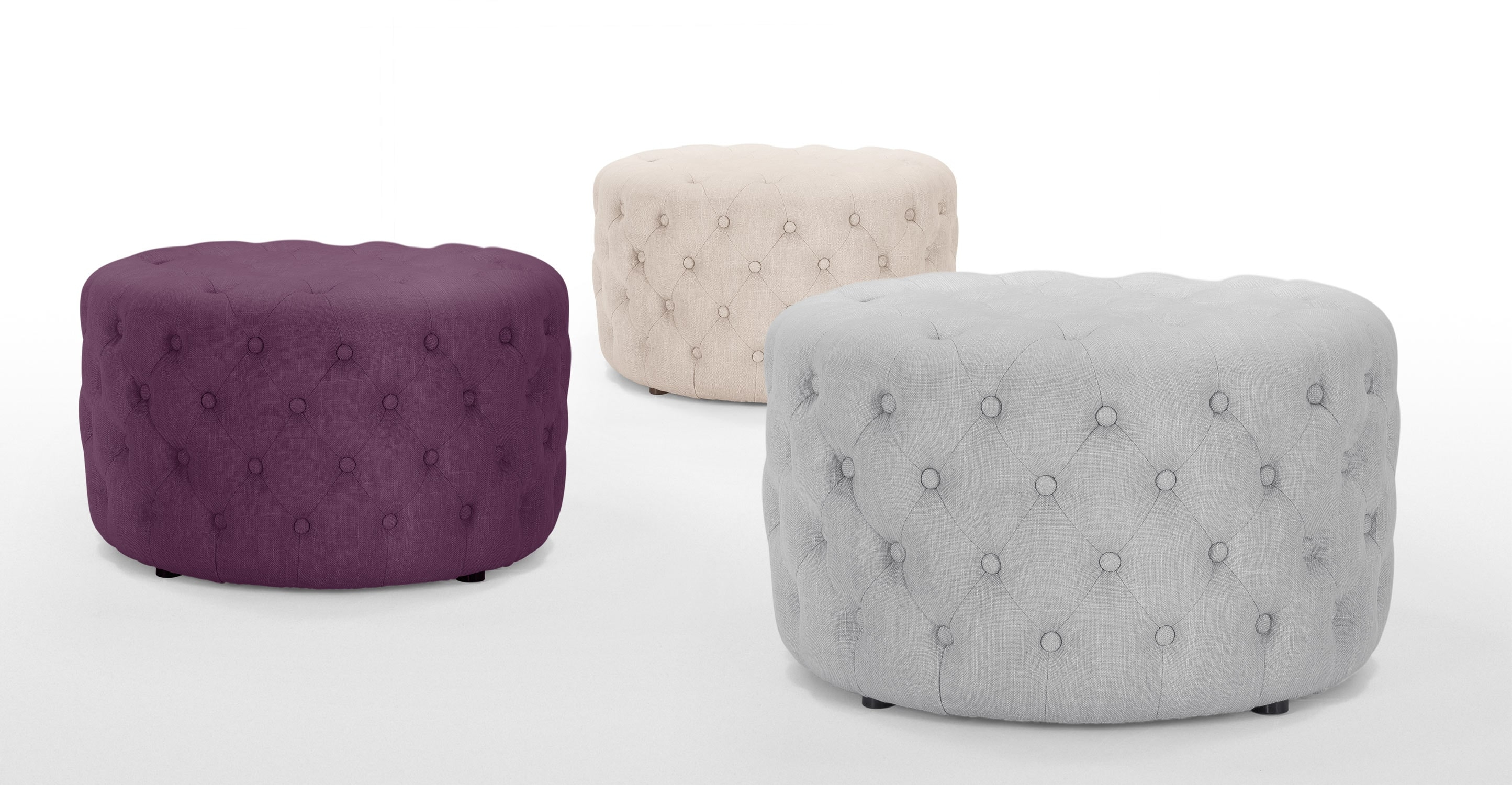 Blakes Small Round Purple Ottoman Made Intended For Small Footstools And Pouffes (Image 1 of 15)